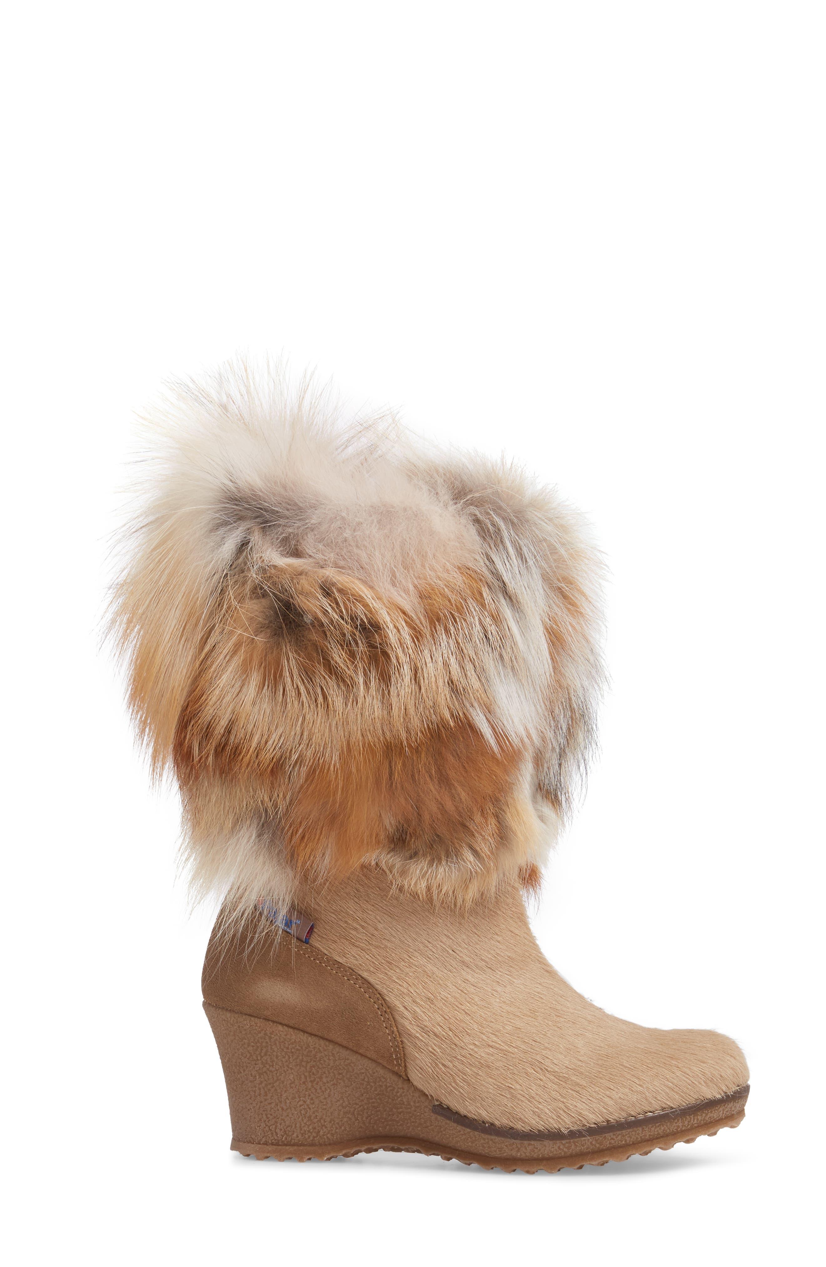 Angelina Genuine Fox Fur Wedge Boot,                             Alternate thumbnail 12, color,