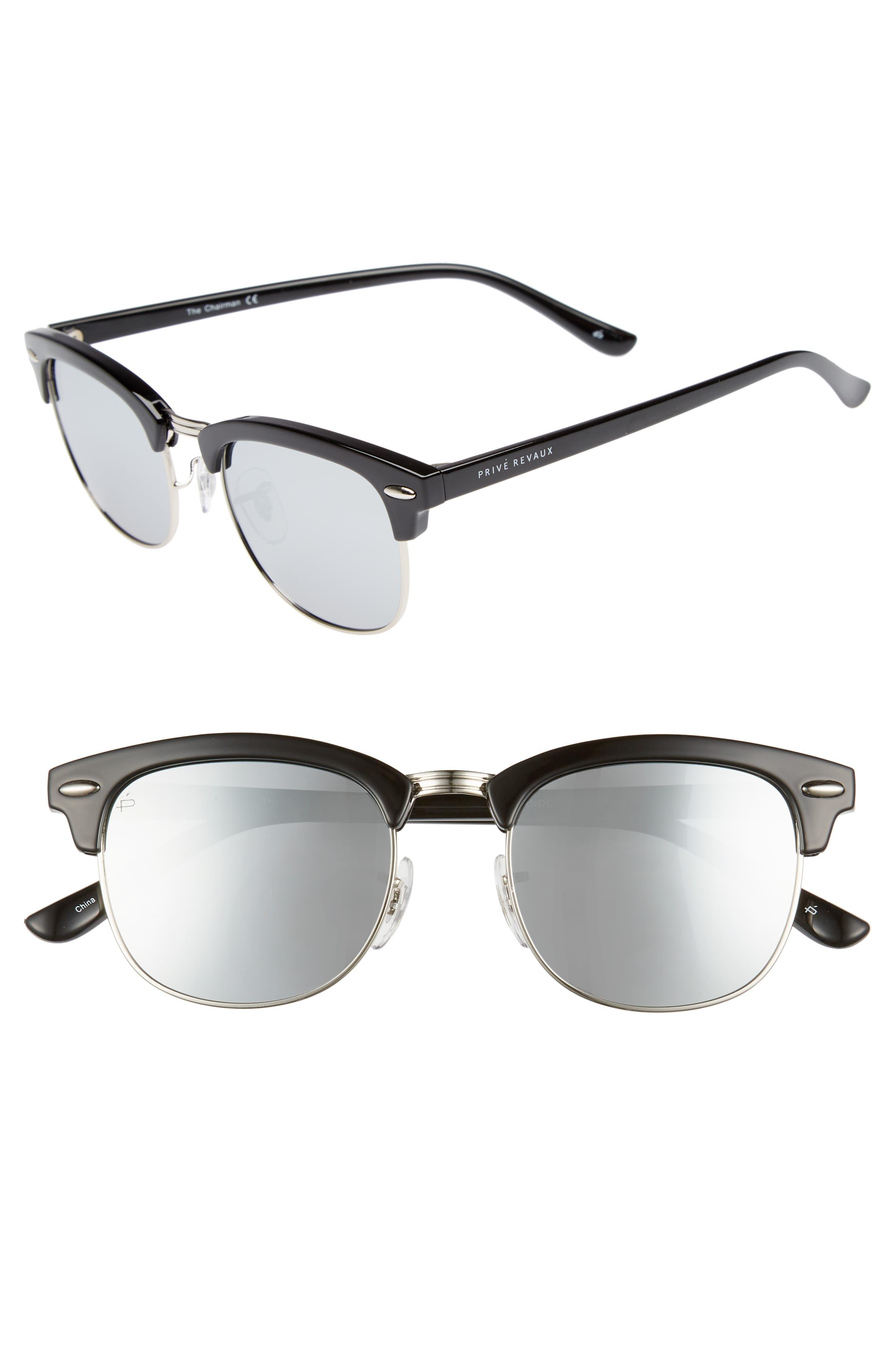 Privé Revaux The Chairman 52mm Polarized Browline Sunglasses,                         Main,                         color,