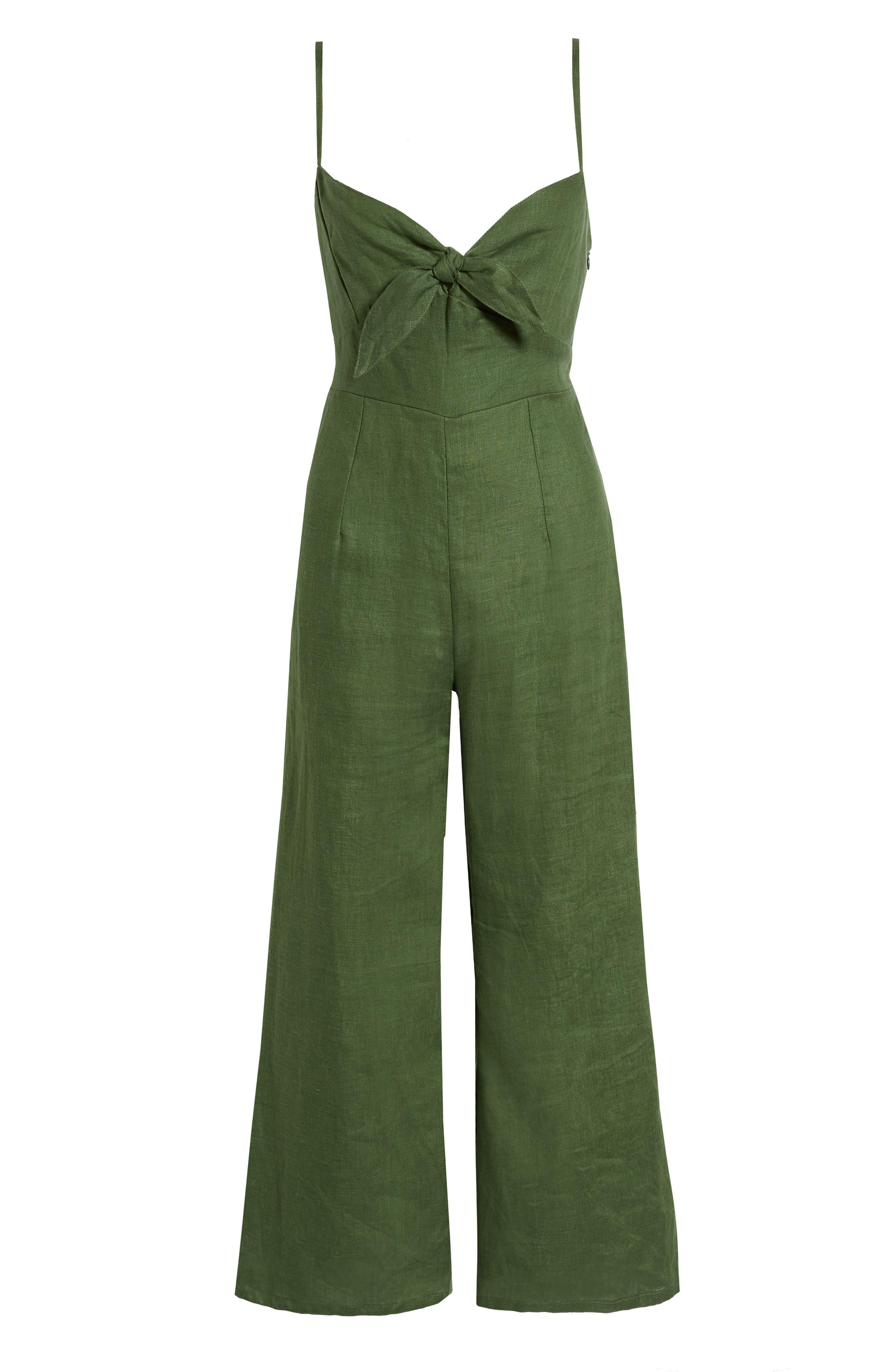 Presley Linen Jumpsuit,                             Alternate thumbnail 4, color,                             PLAIN MOSS GREEN