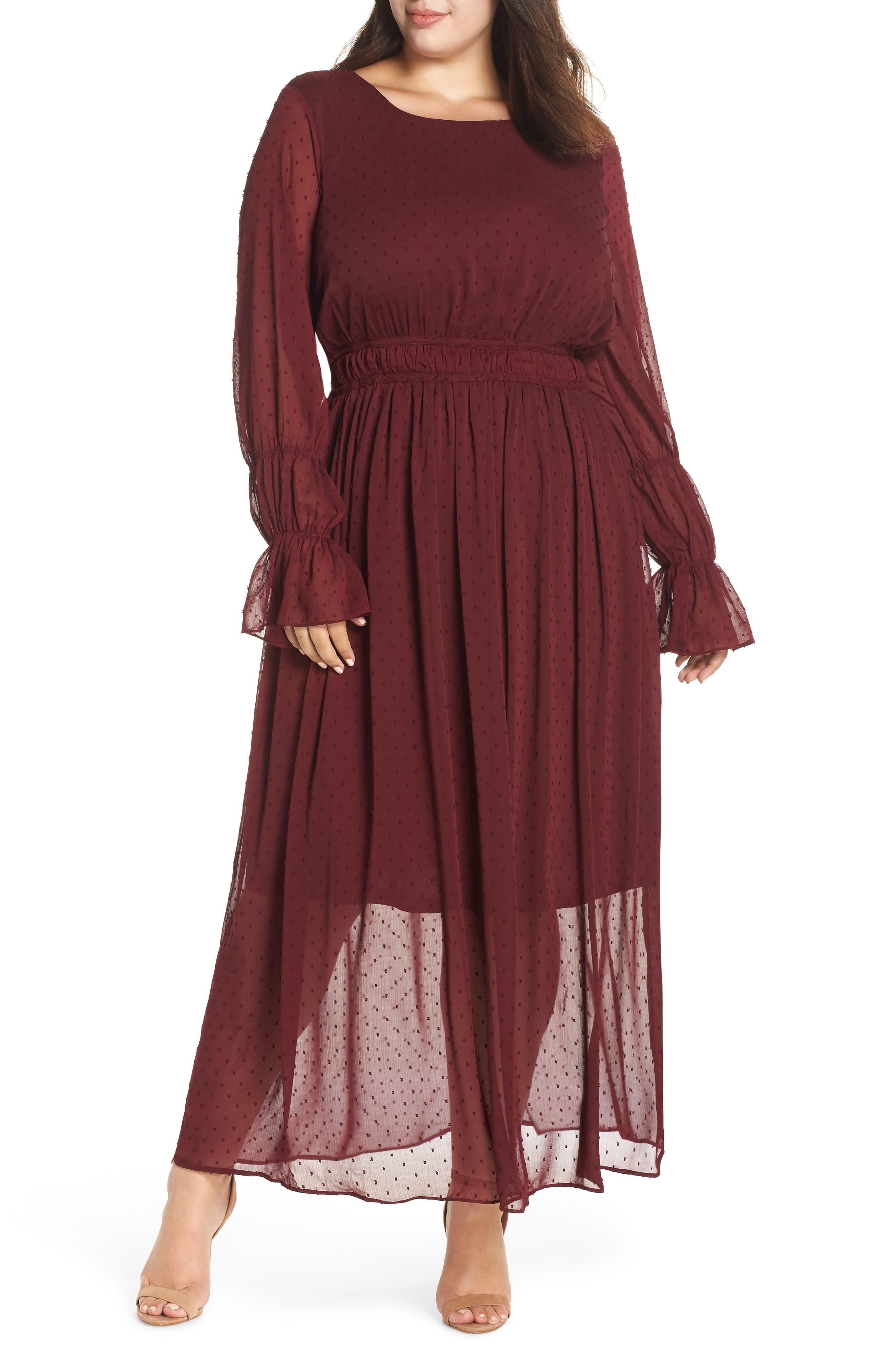 Dobby Maxi Dress,                             Main thumbnail 1, color,                             OXBLOOD
