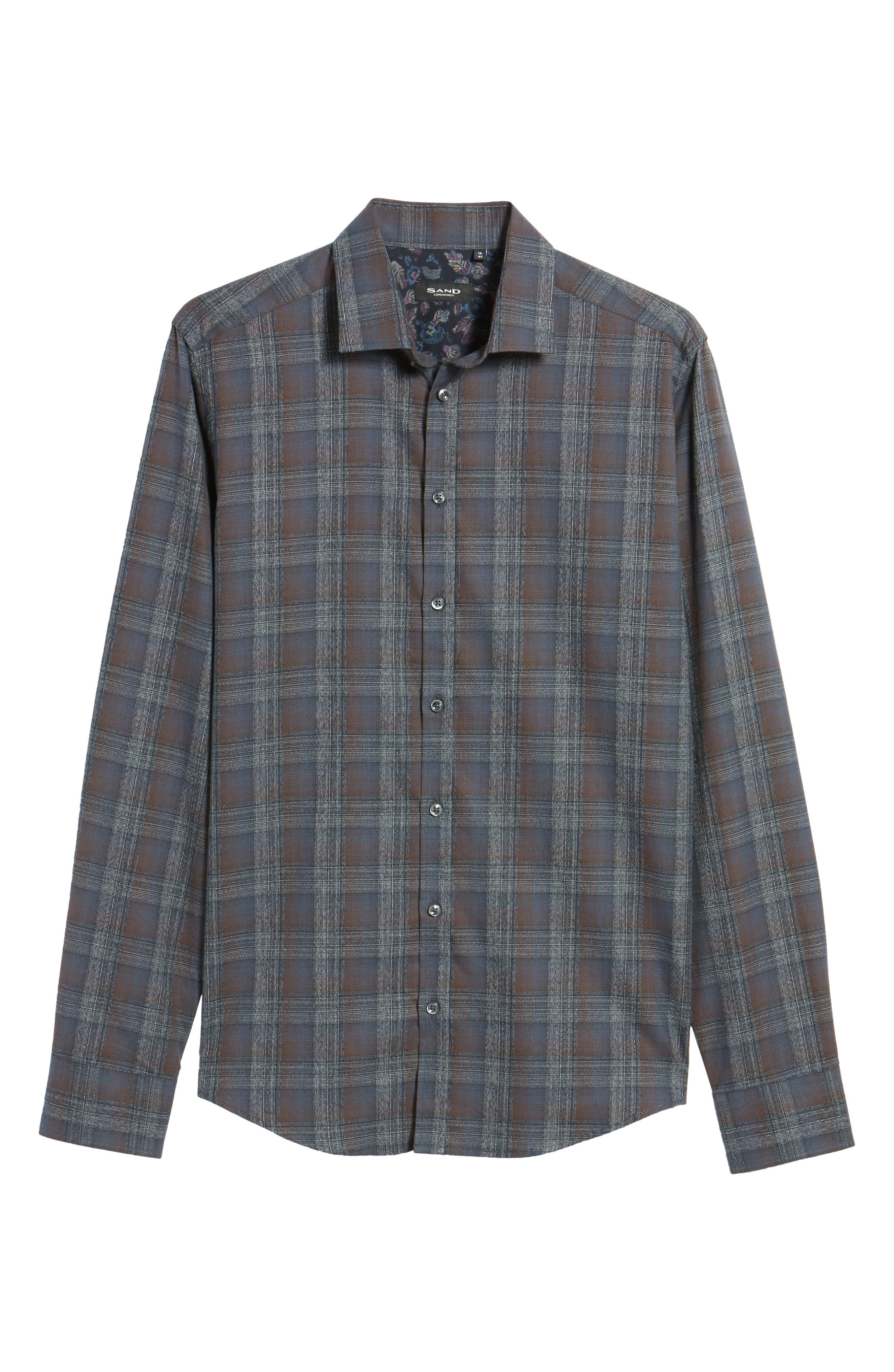 Trim Fit Plaid Sport Shirt,                             Alternate thumbnail 6, color,                             200