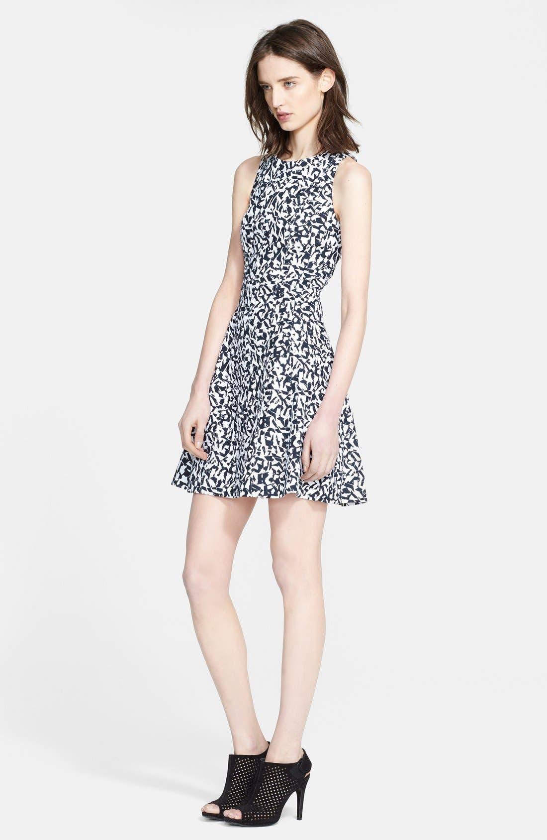 'Maydra' Print Cotton Fit & Flare Dress,                             Main thumbnail 1, color,                             400