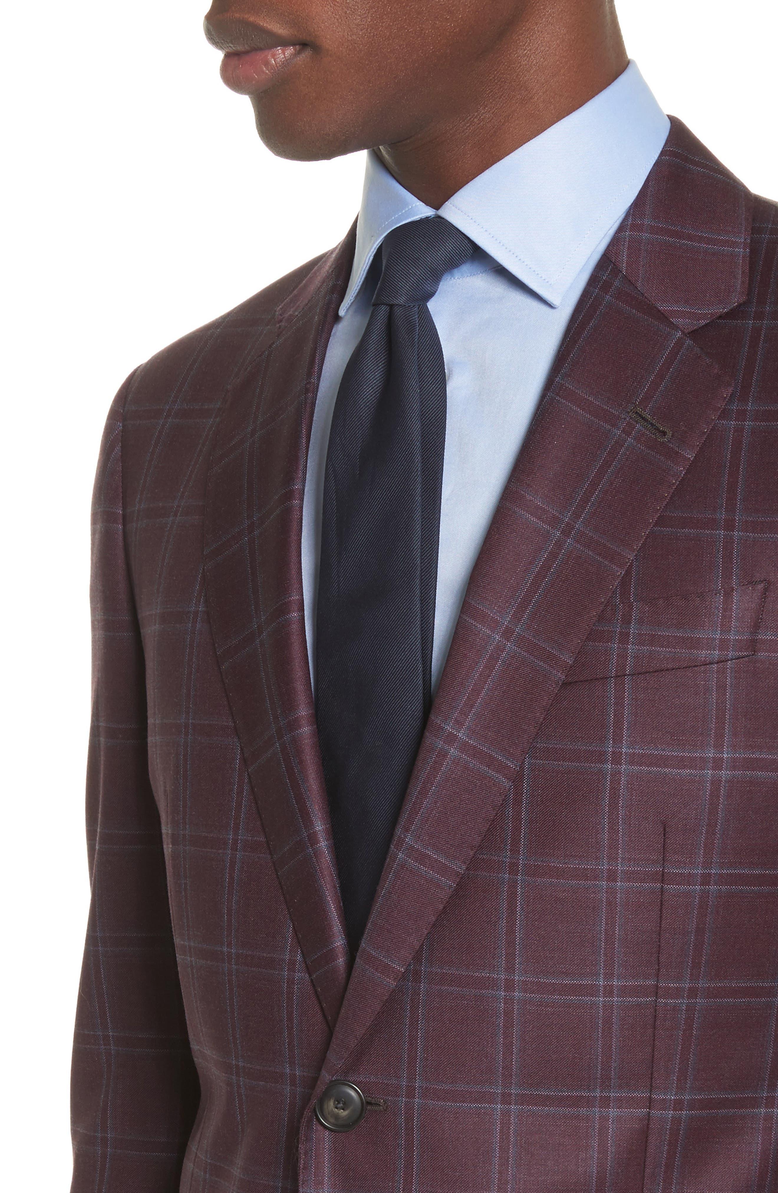 G Line Trim Fit Windowpane Wool Sport Coat,                             Alternate thumbnail 4, color,                             604