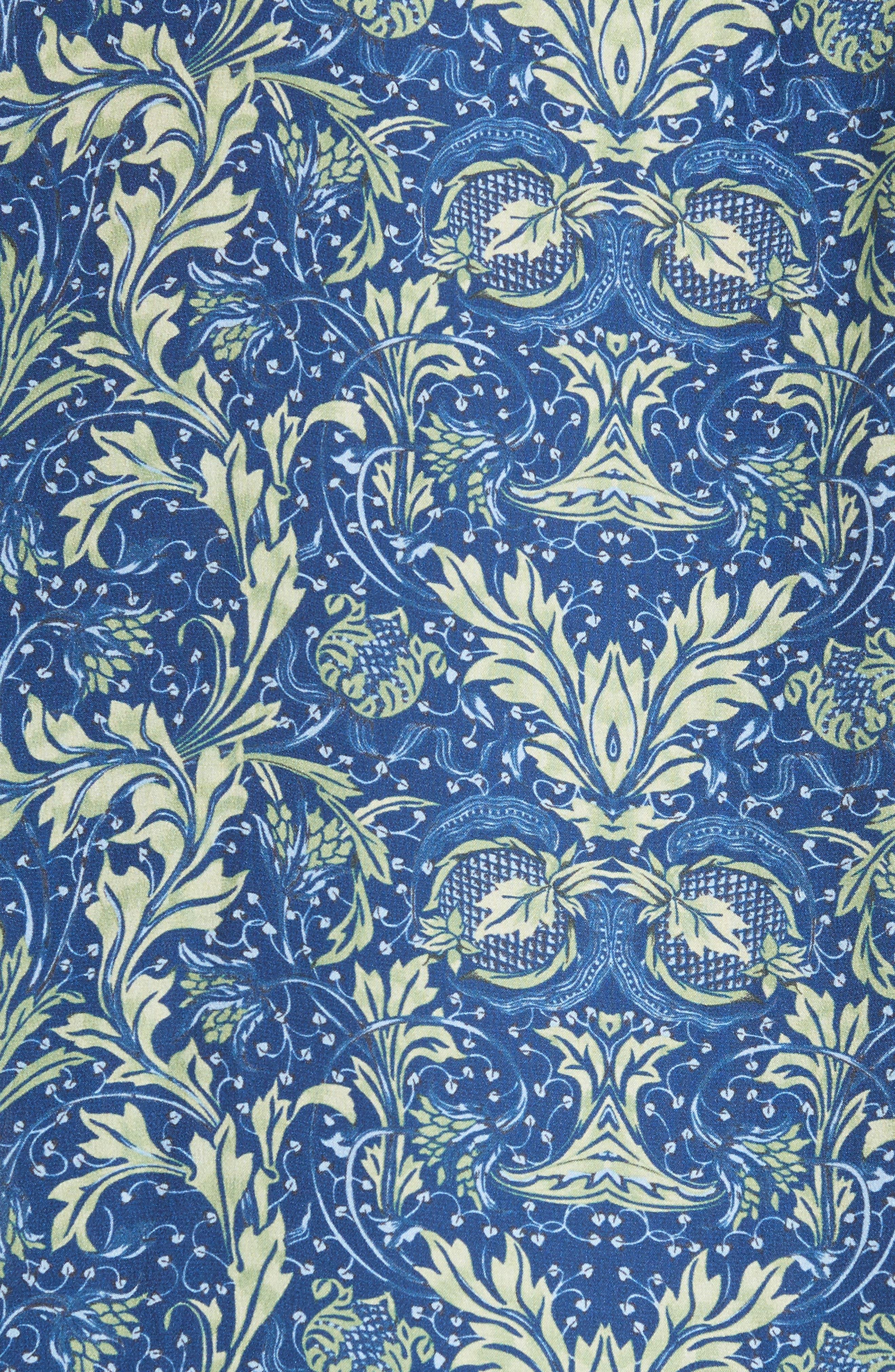 Acanthus Print Silk Blouse,                             Alternate thumbnail 5, color,                             430