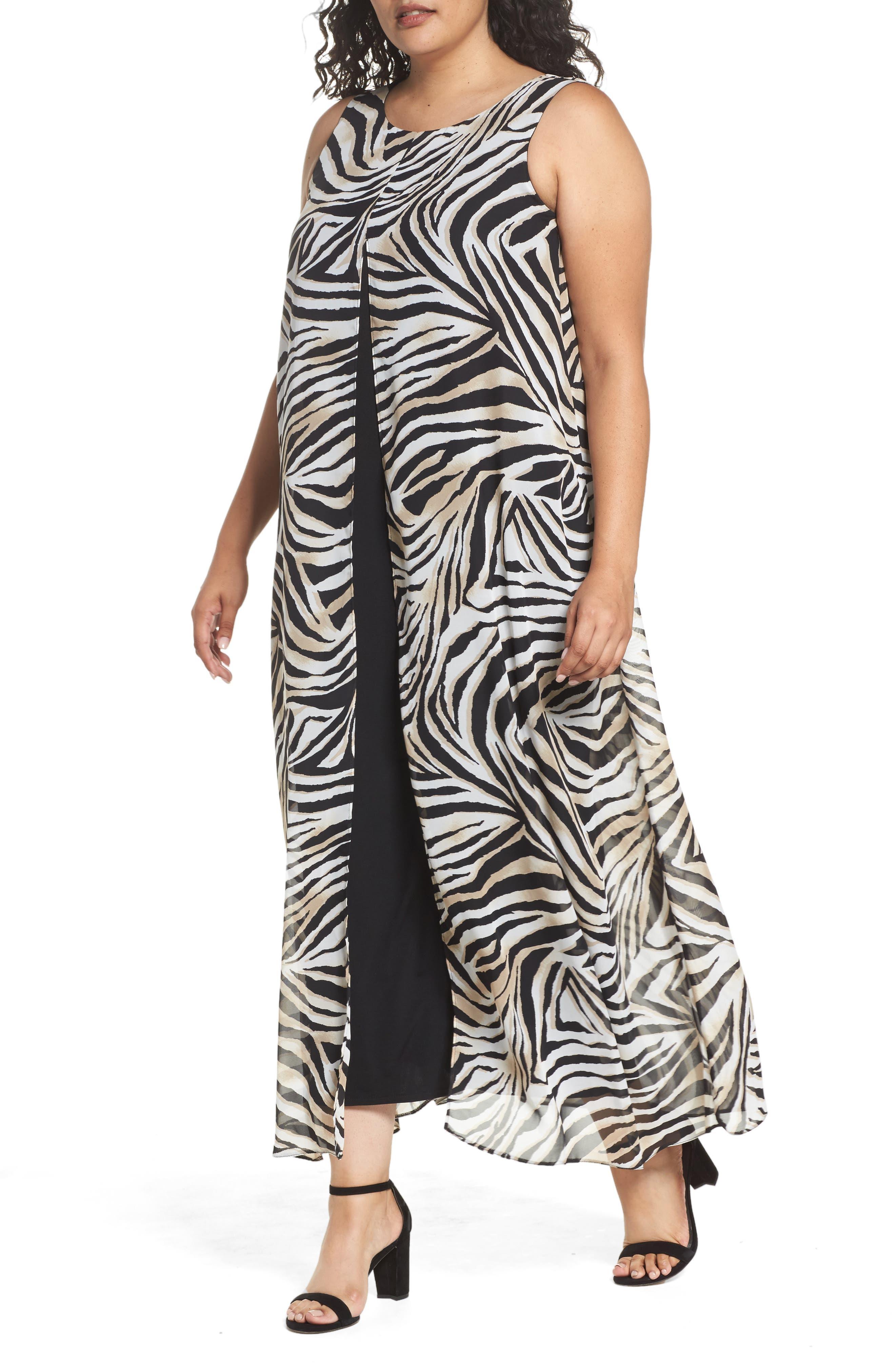Animal Print Split Maxi Dress,                             Alternate thumbnail 4, color,                             010