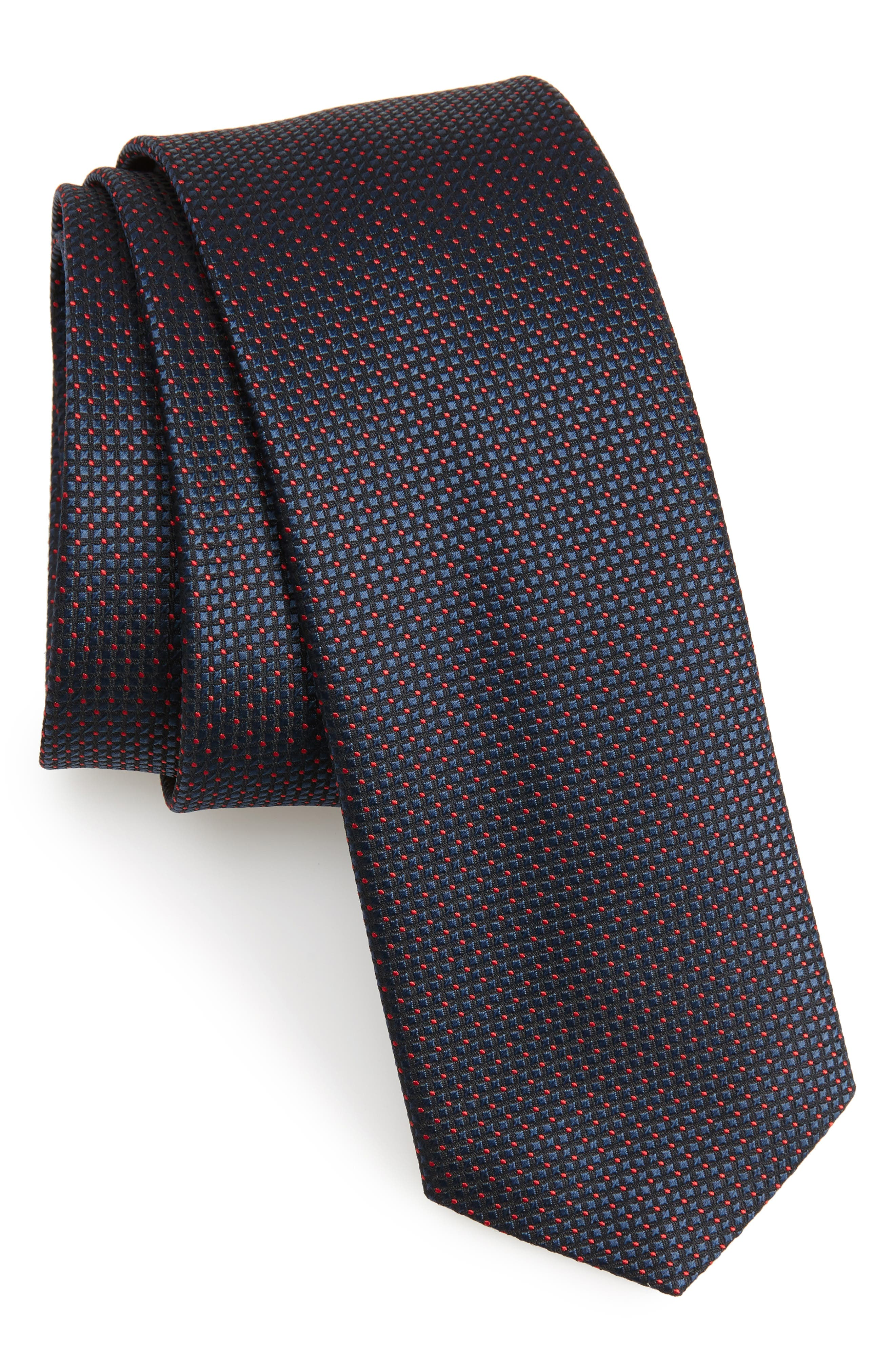 Dot Silk Skinny Tie,                             Main thumbnail 1, color,                             400