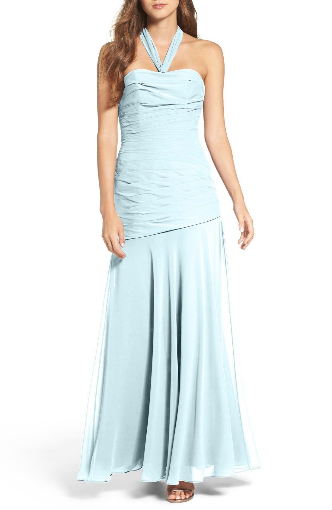 Chiffon Halter Gown,                             Main thumbnail 1, color,