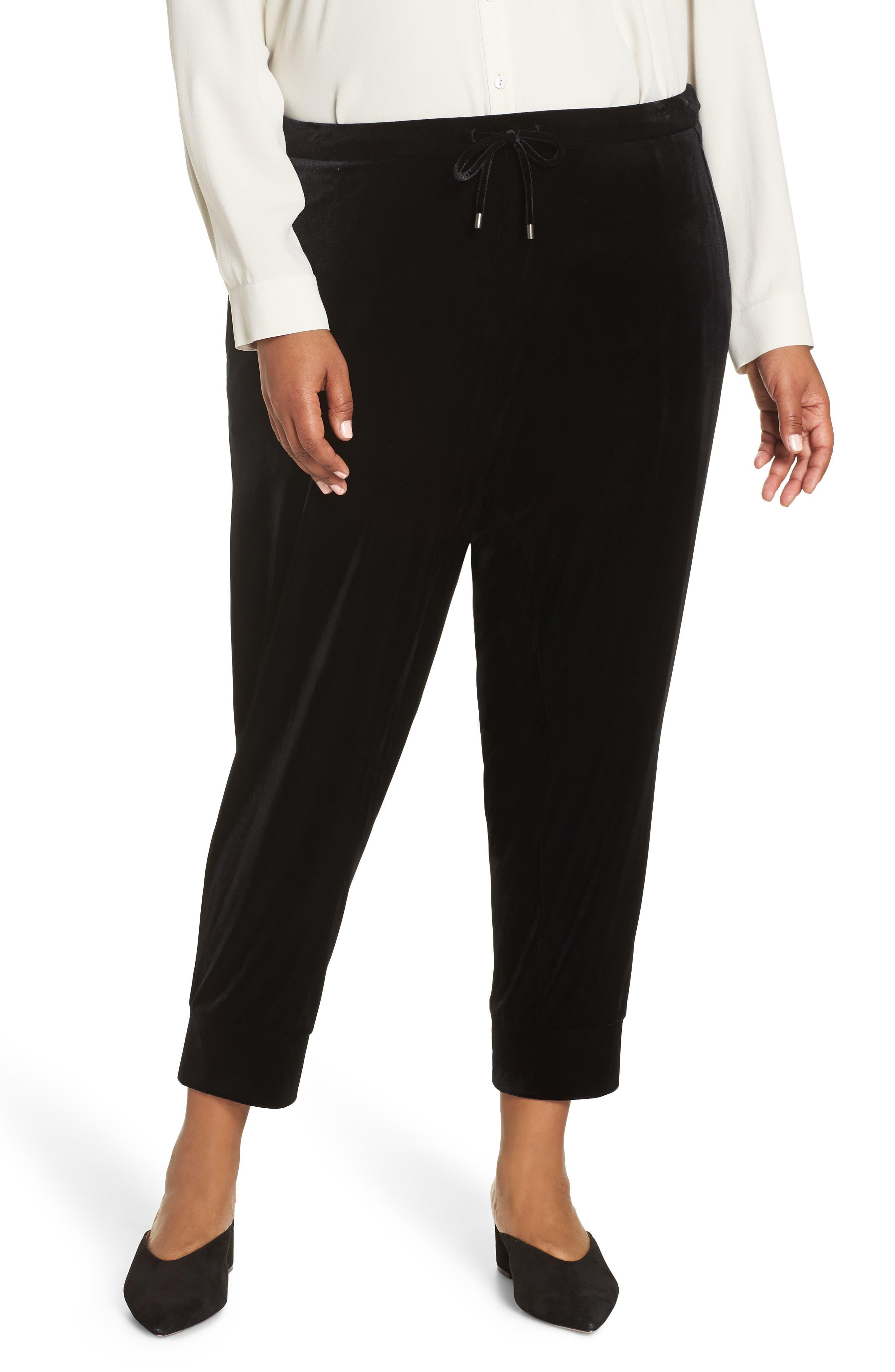 High Rise Crop Velvet Jogger Pants,                             Alternate thumbnail 2, color,                             BLACK