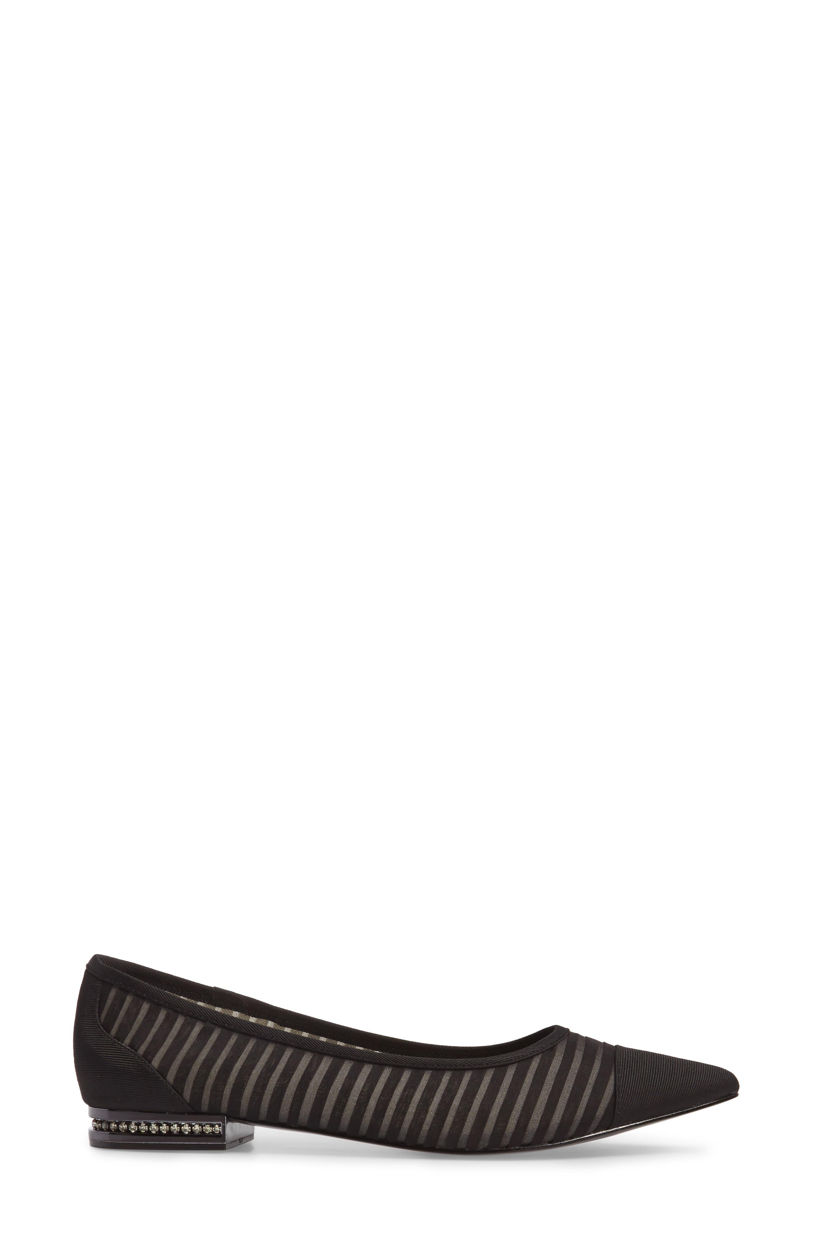 Tiffany Pointy Toe Flat,                             Alternate thumbnail 3, color,                             001