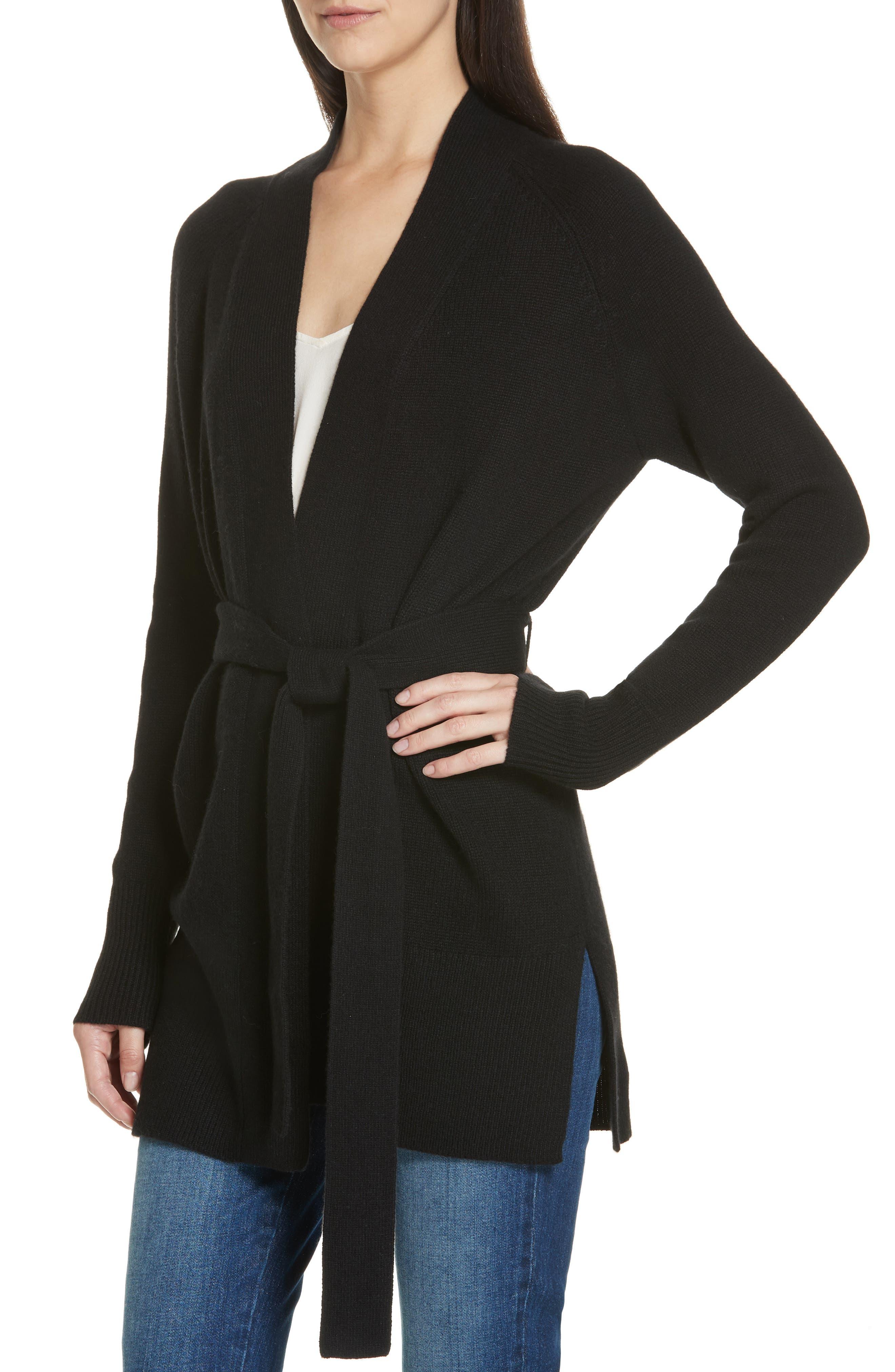 Malinka O Cashmere Tie Waist Cardigan,                             Alternate thumbnail 4, color,                             BLACK