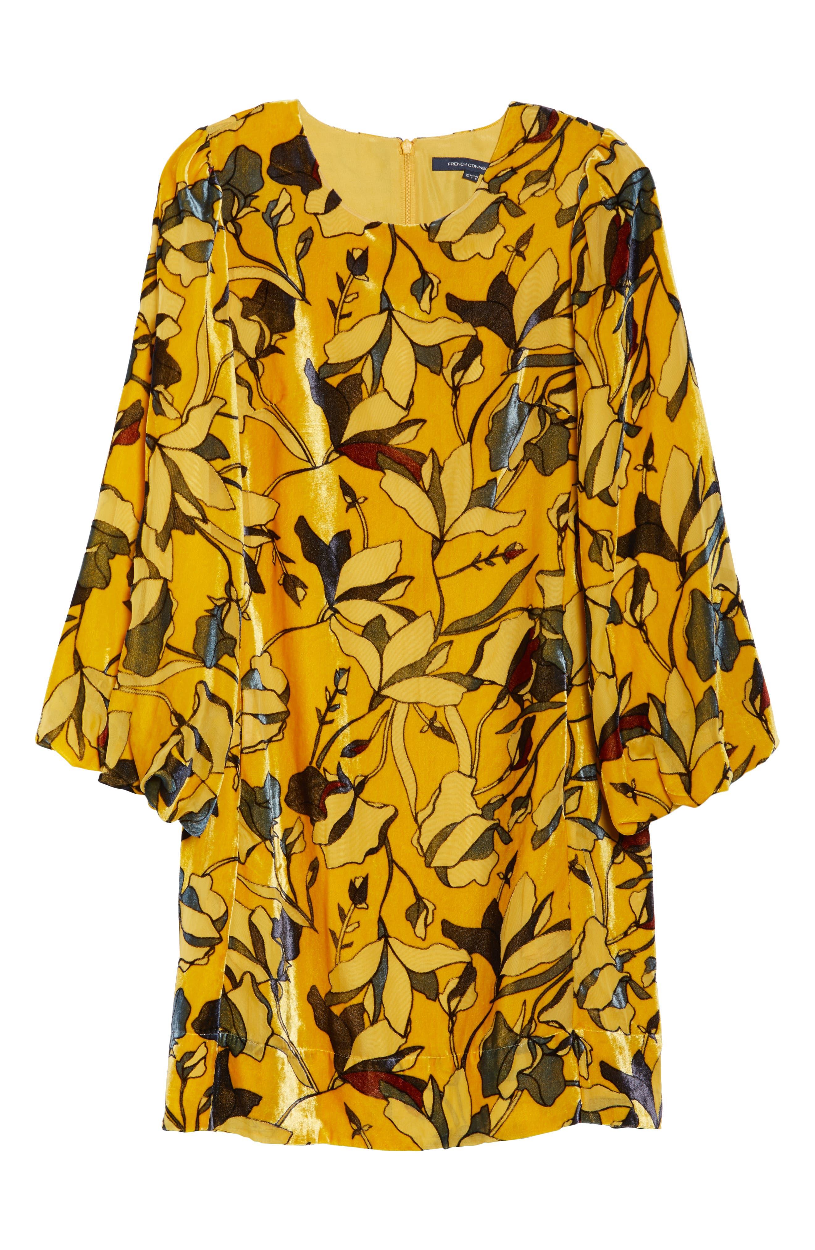 Aventine Velvet Tunic Dress,                             Alternate thumbnail 6, color,                             CALLUNA YELLOW