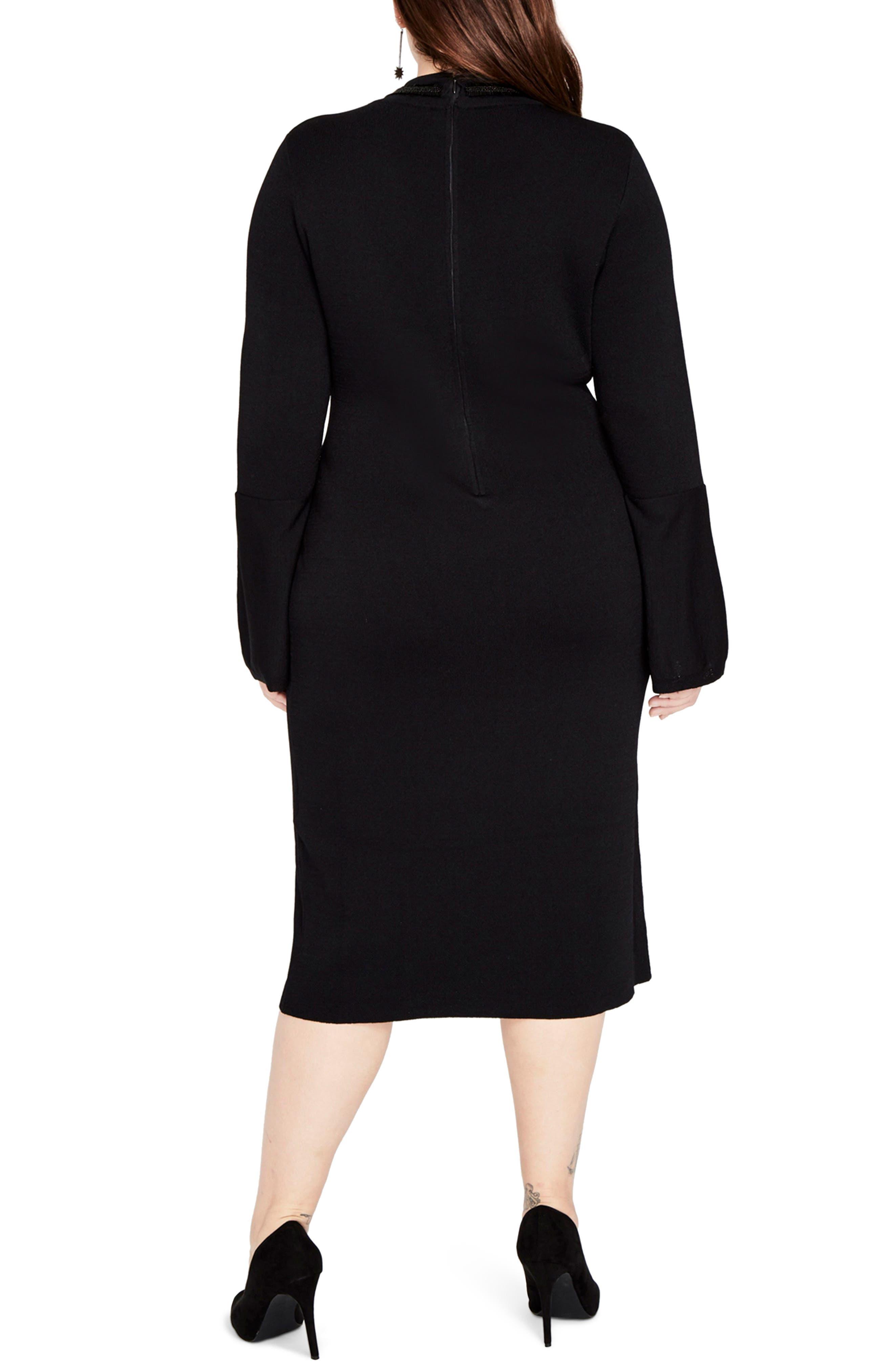 RACHEL RACHEL ROY,                             Choker Neck Sweater Dress,                             Alternate thumbnail 2, color,                             001