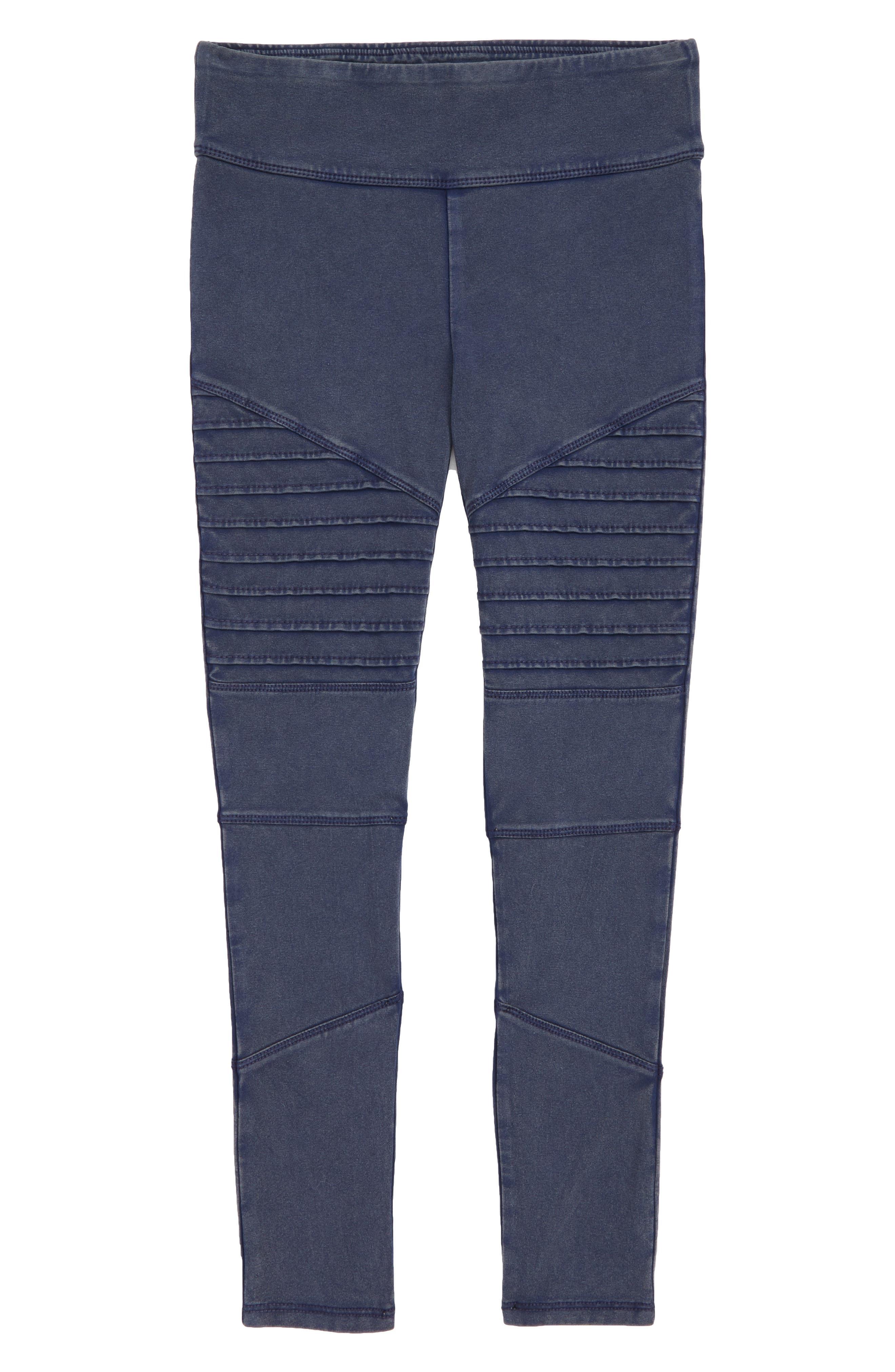 High Waist Moto Pants,                         Main,                         color, NAVY PEACOAT WASH