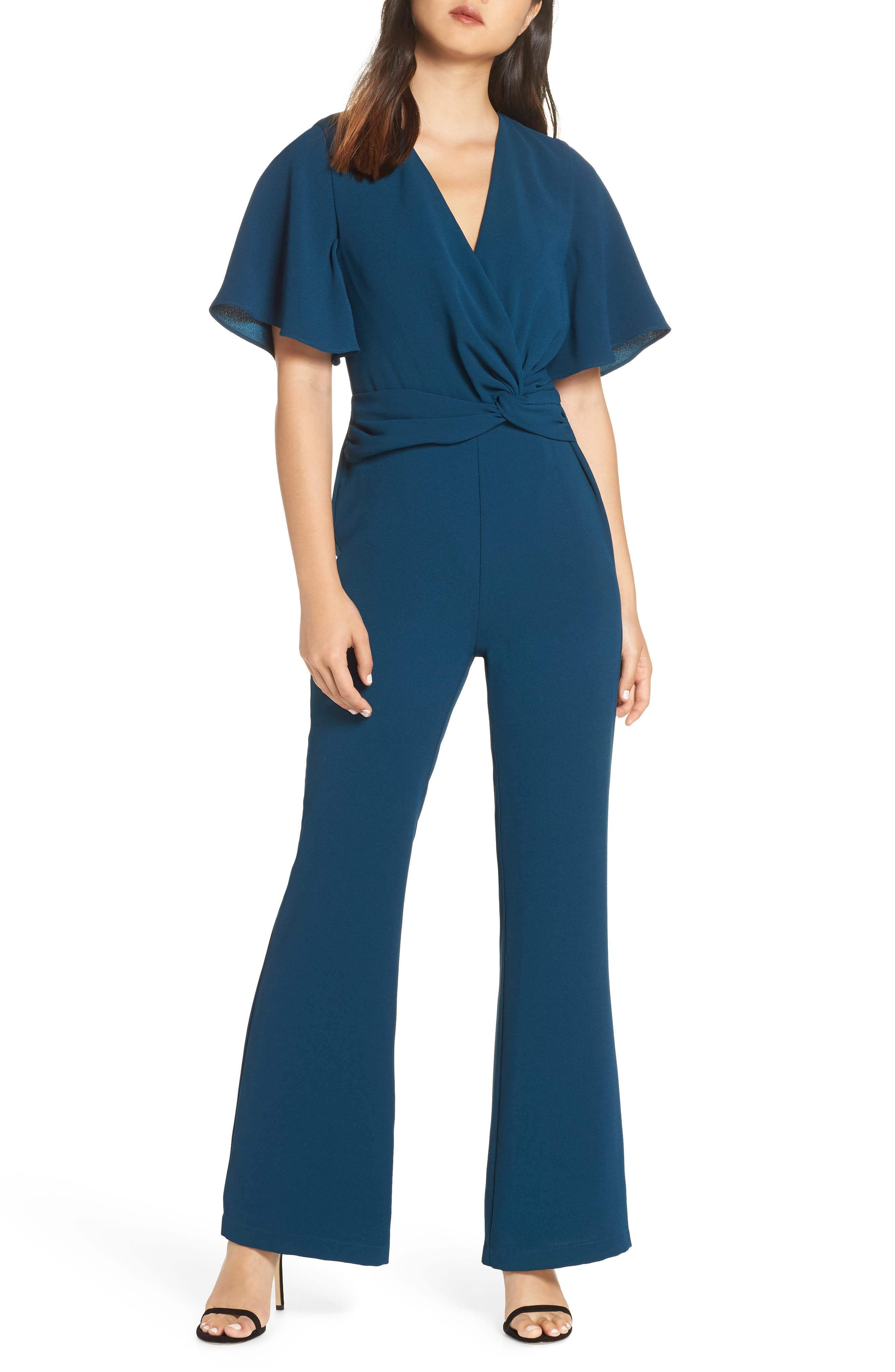 HARLYN Twist Front Jumpsuit in Forest Green