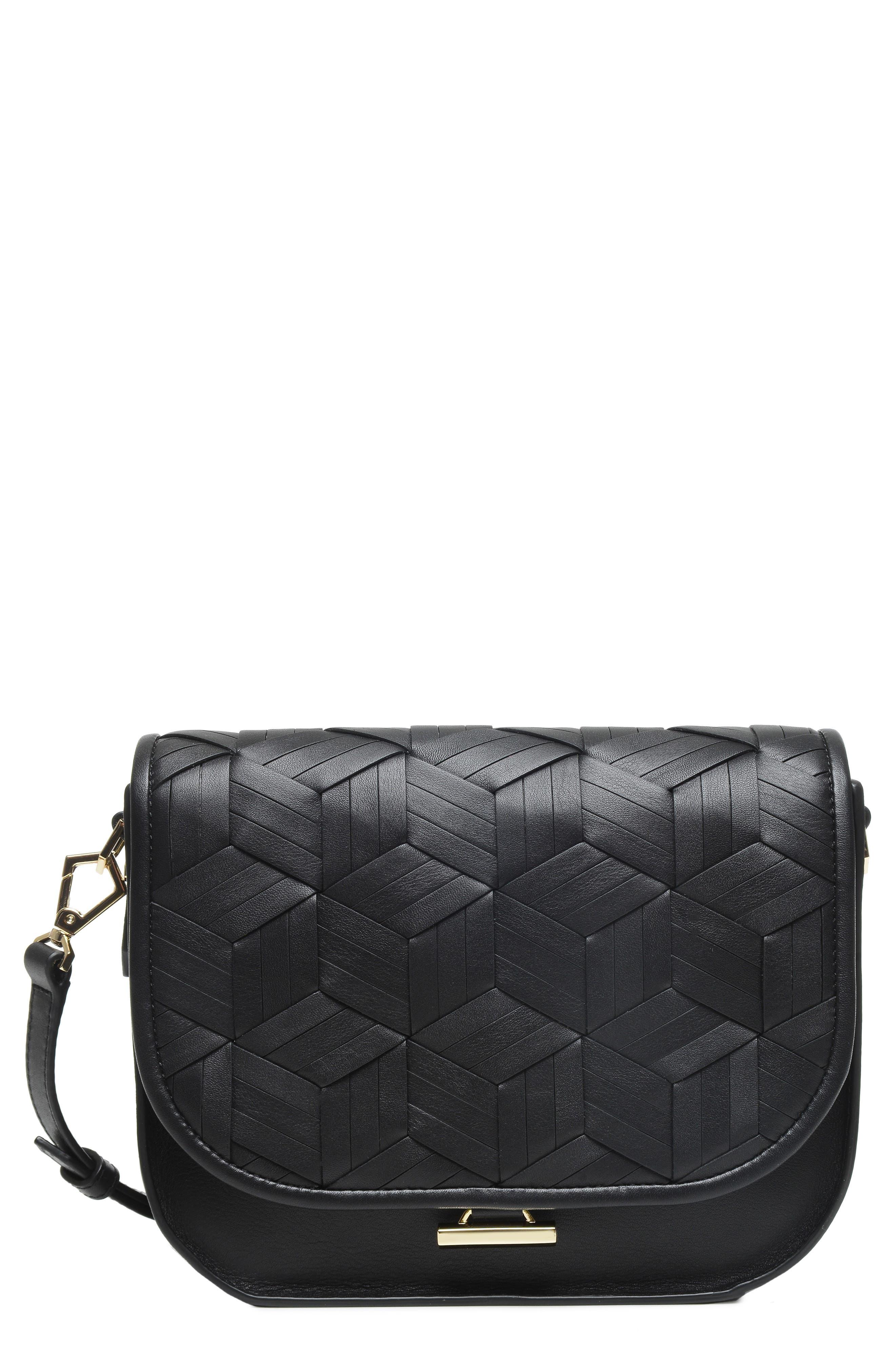 Summit Leather Crossbody Bag,                             Main thumbnail 1, color,                             BLACK