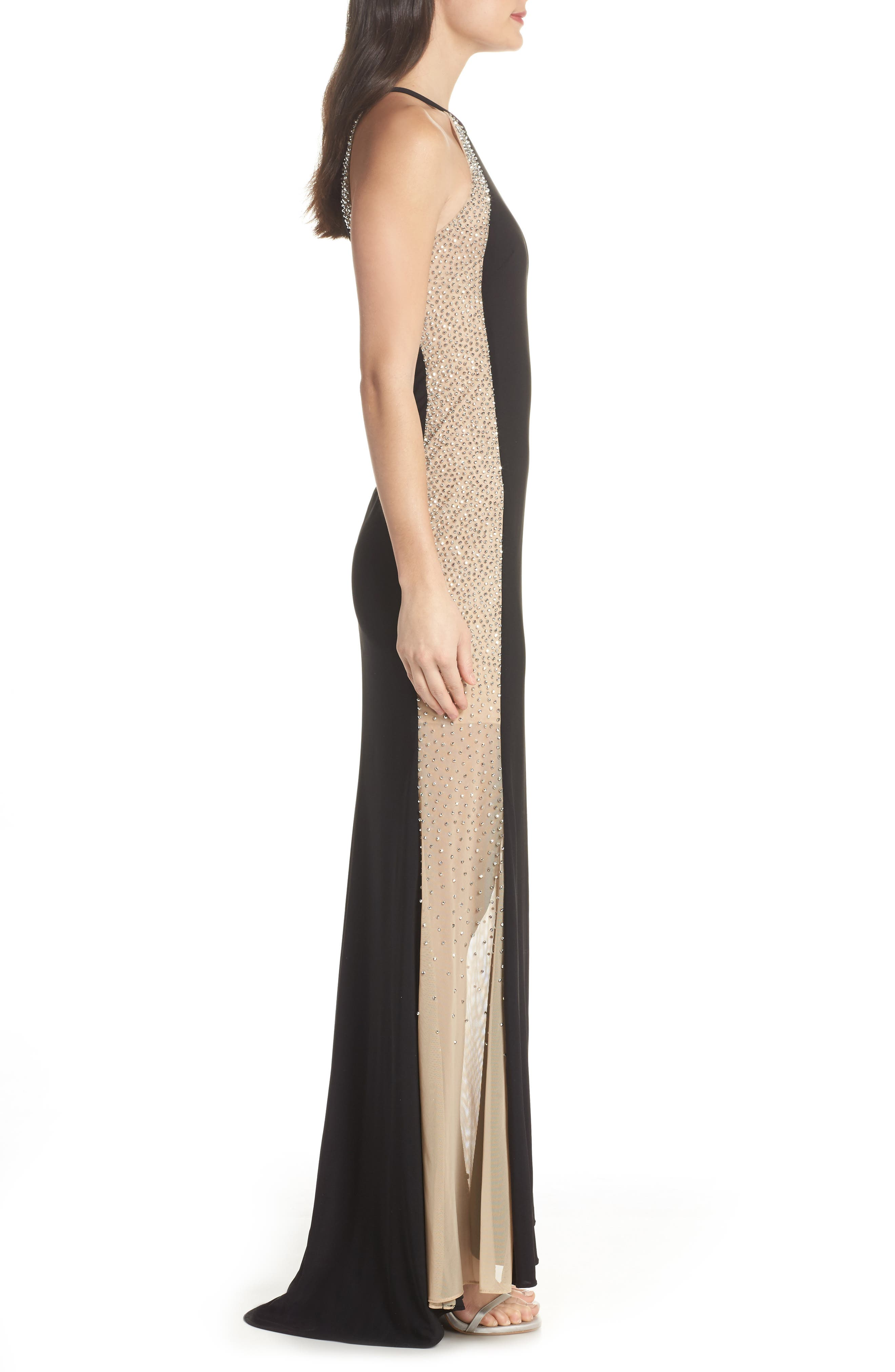 XSCAPE,                             Beaded Sides Halter Gown,                             Alternate thumbnail 3, color,                             001