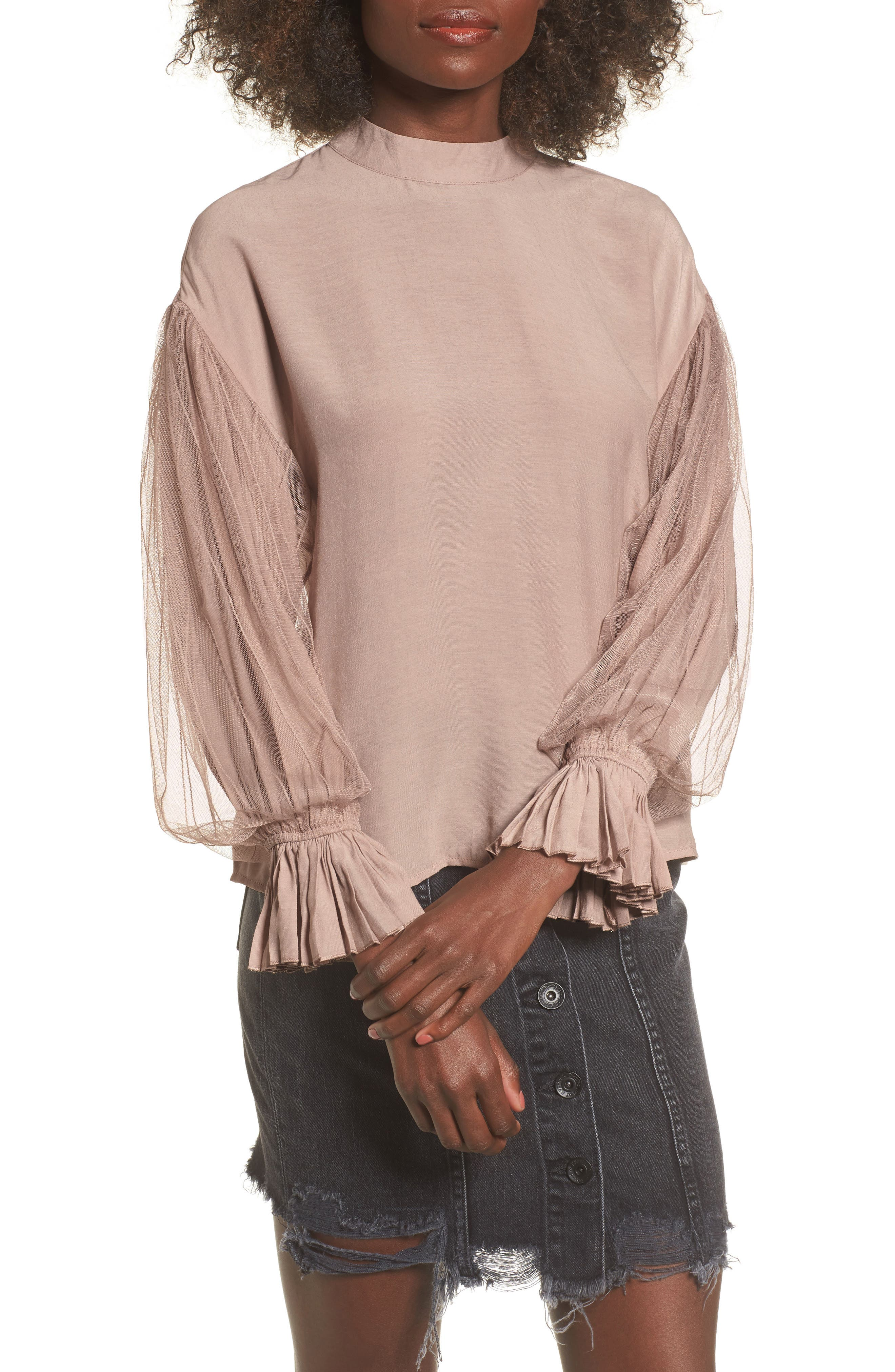 Tulle Puff Sleeve Top,                             Main thumbnail 1, color,