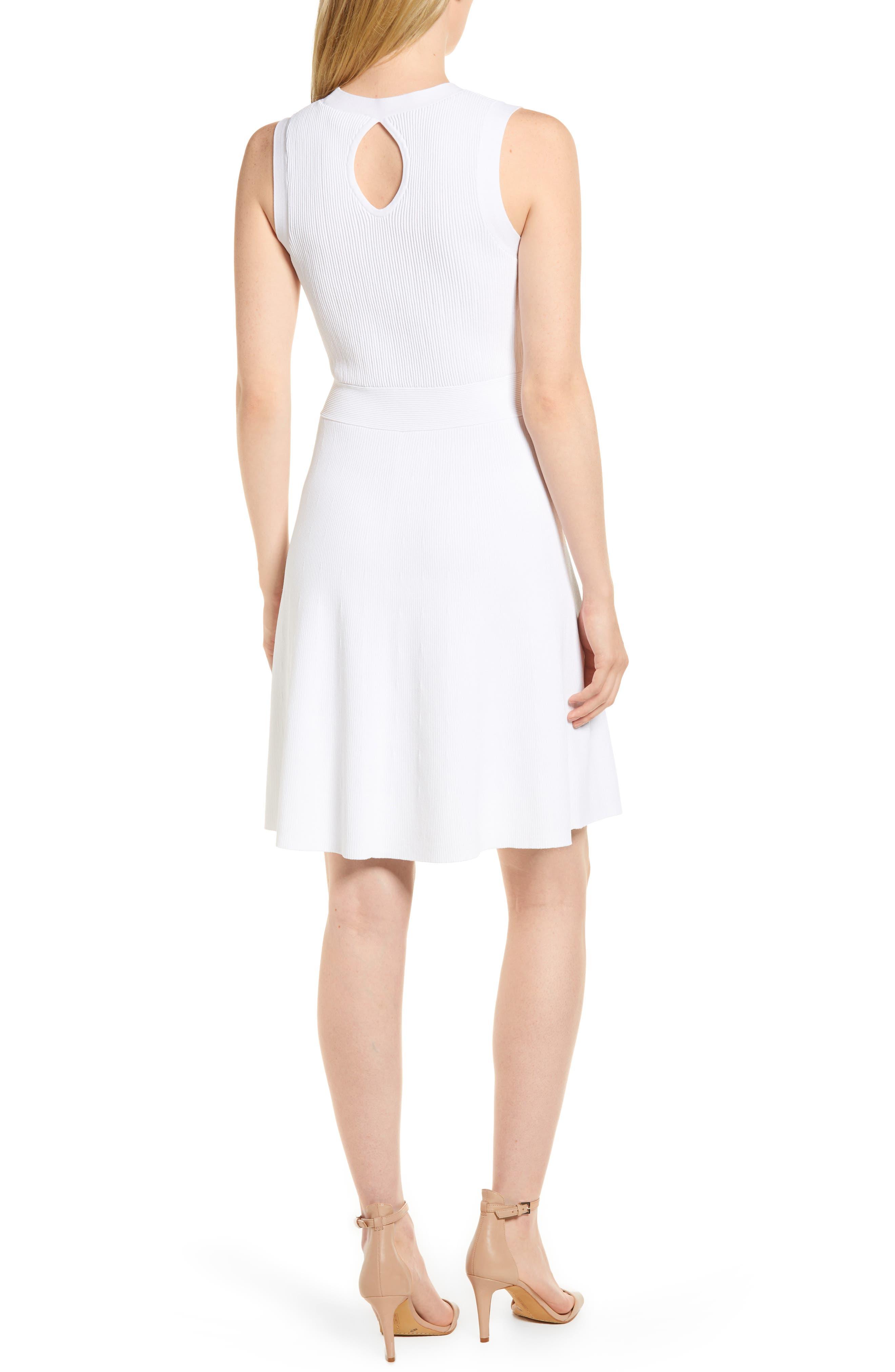 Keyhole Back Fit & Flare Sleeveless Dress,                             Alternate thumbnail 2, color,