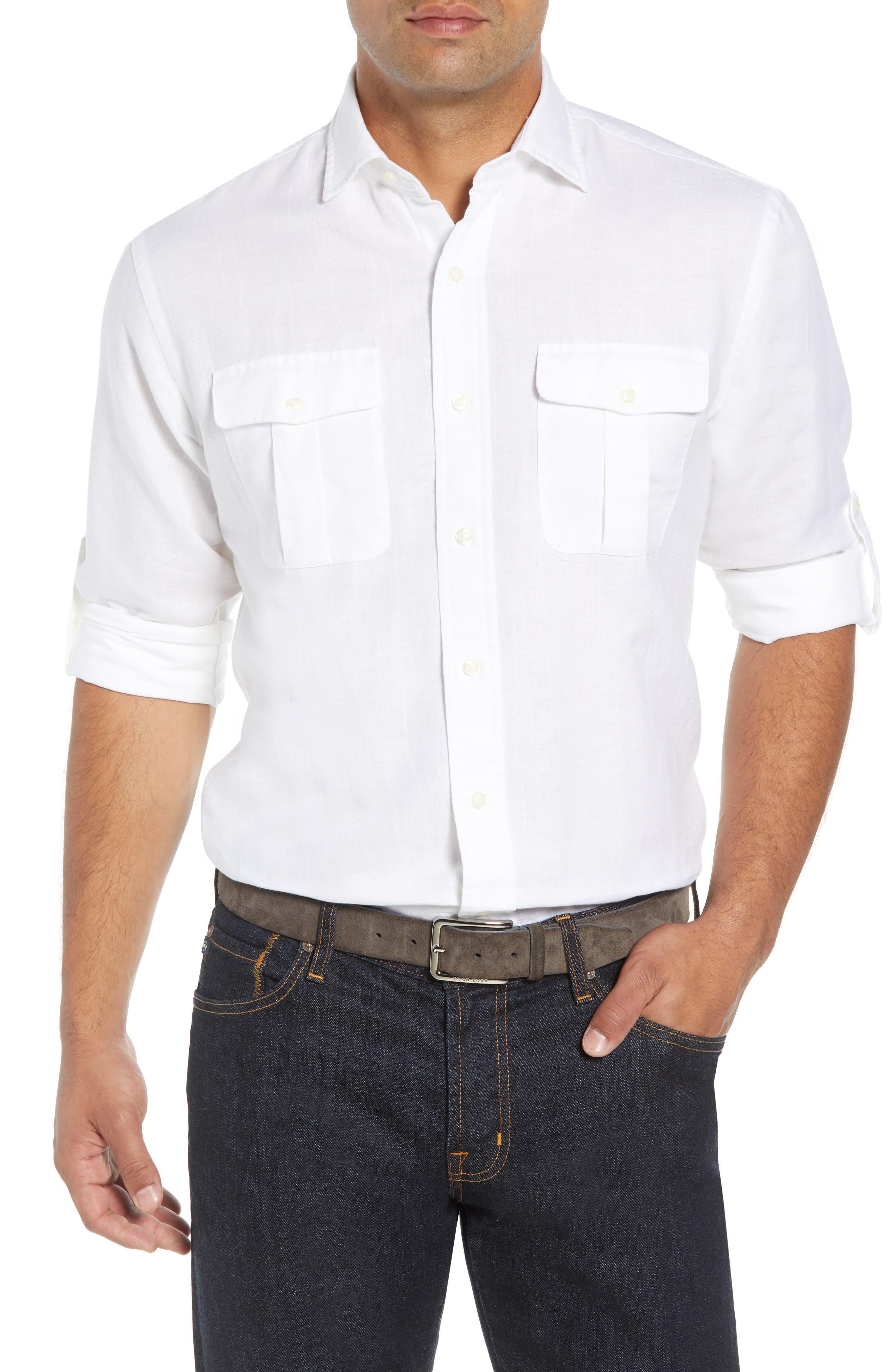 Harkers Regular Fit Herringbone Sport Shirt,                         Main,                         color, 100
