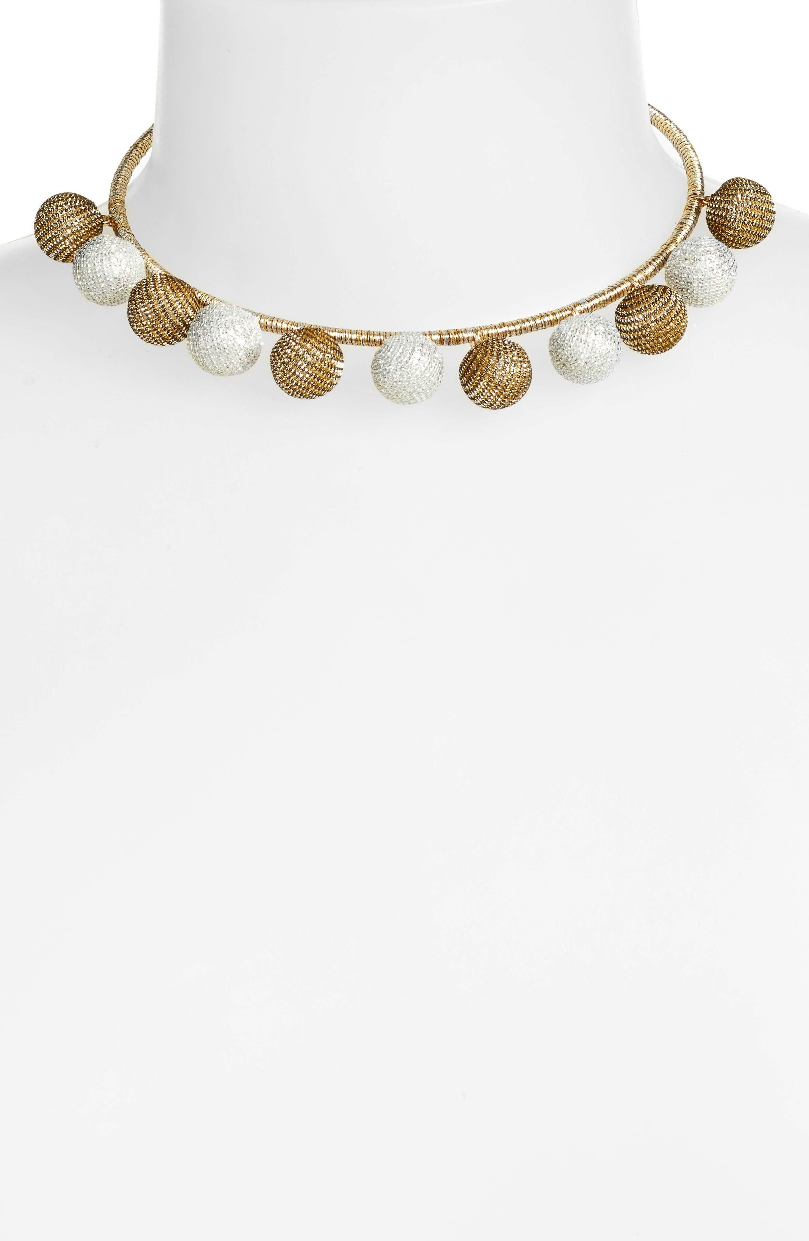 High Shine Pompom Collar Necklace,                             Alternate thumbnail 4, color,