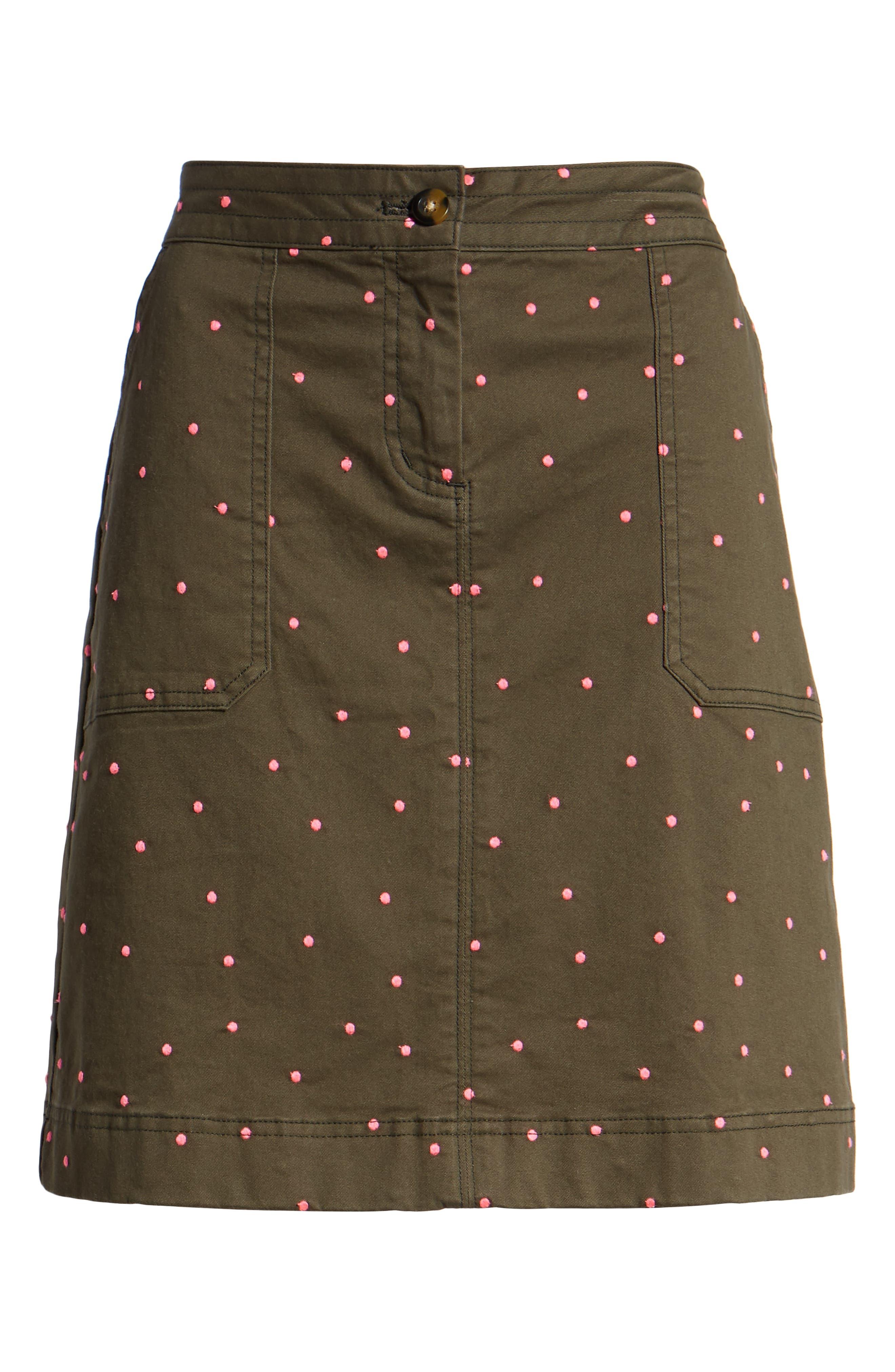 Stretch Cotton A-Line Skirt,                             Alternate thumbnail 6, color,                             255