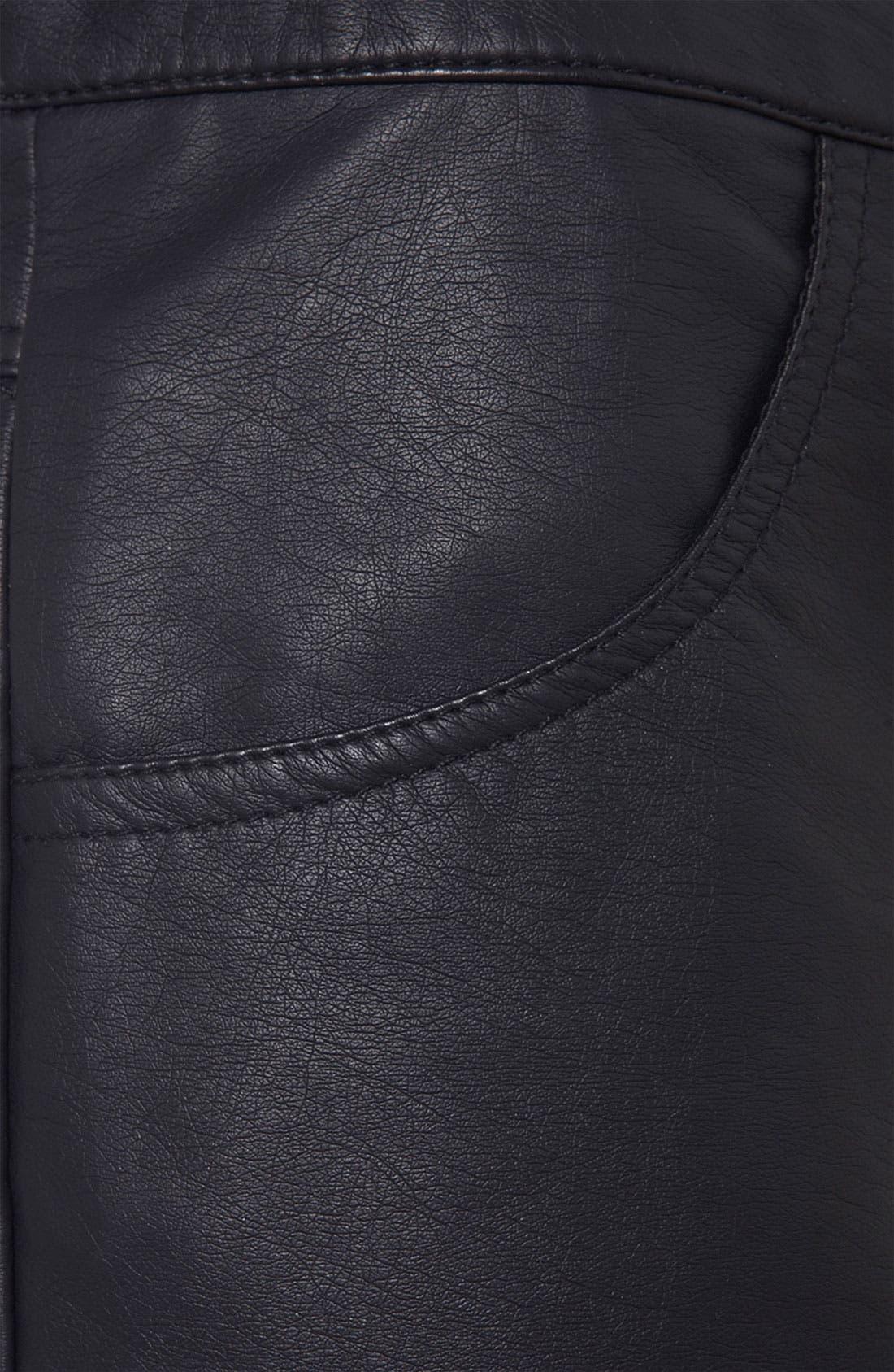 Faux Leather Shorts,                             Alternate thumbnail 2, color,                             001