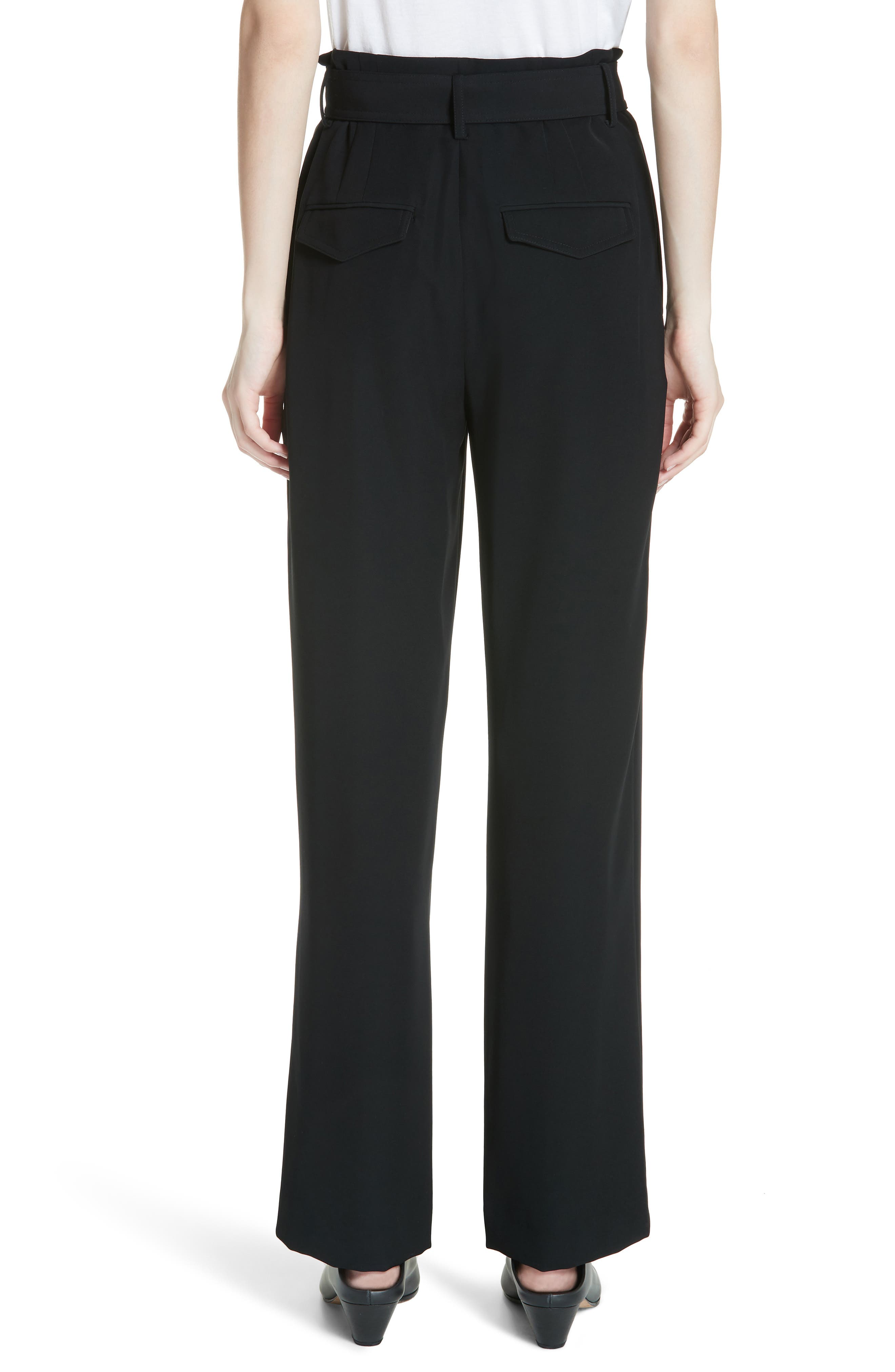 VINCE,                             Belted Wide Leg Pants,                             Alternate thumbnail 2, color,                             BLACK