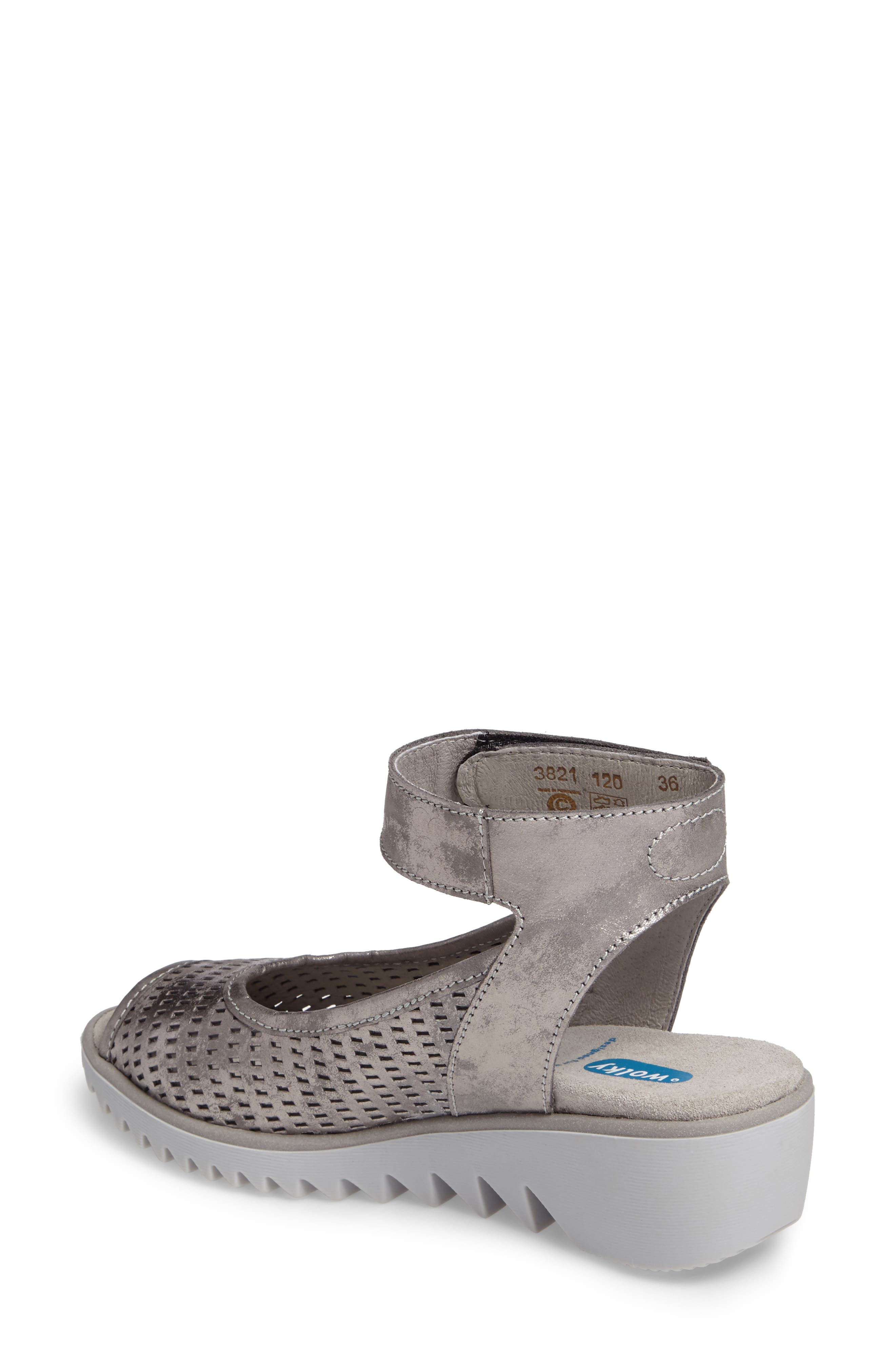 Frosty Ankle Strap Wedge Sandal,                             Alternate thumbnail 4, color,