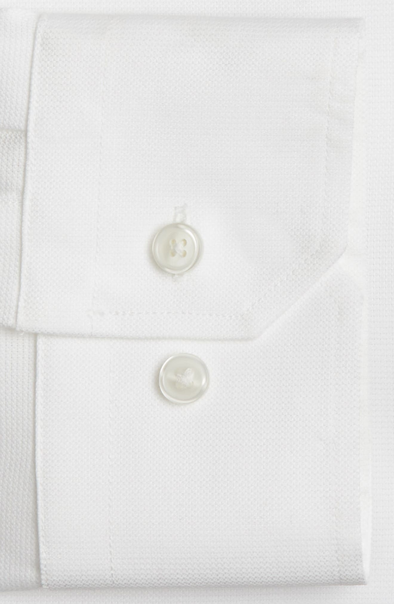 Trim Fit Non-Iron Stretch Solid Dress Shirt,                             Alternate thumbnail 3, color,                             WHITE