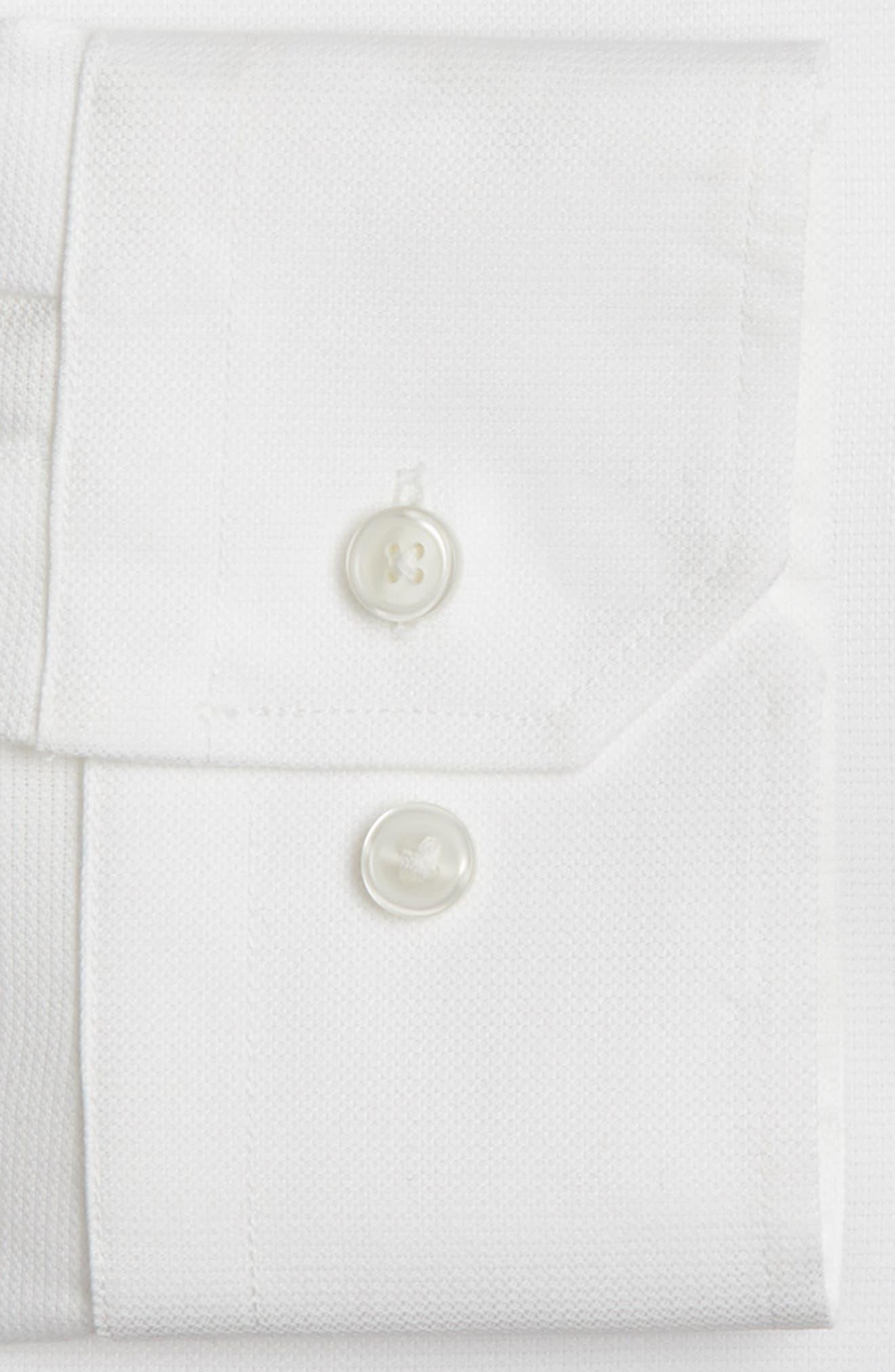 Trim Fit Non-Iron Stretch Solid Dress Shirt,                             Alternate thumbnail 3, color,                             WHITE