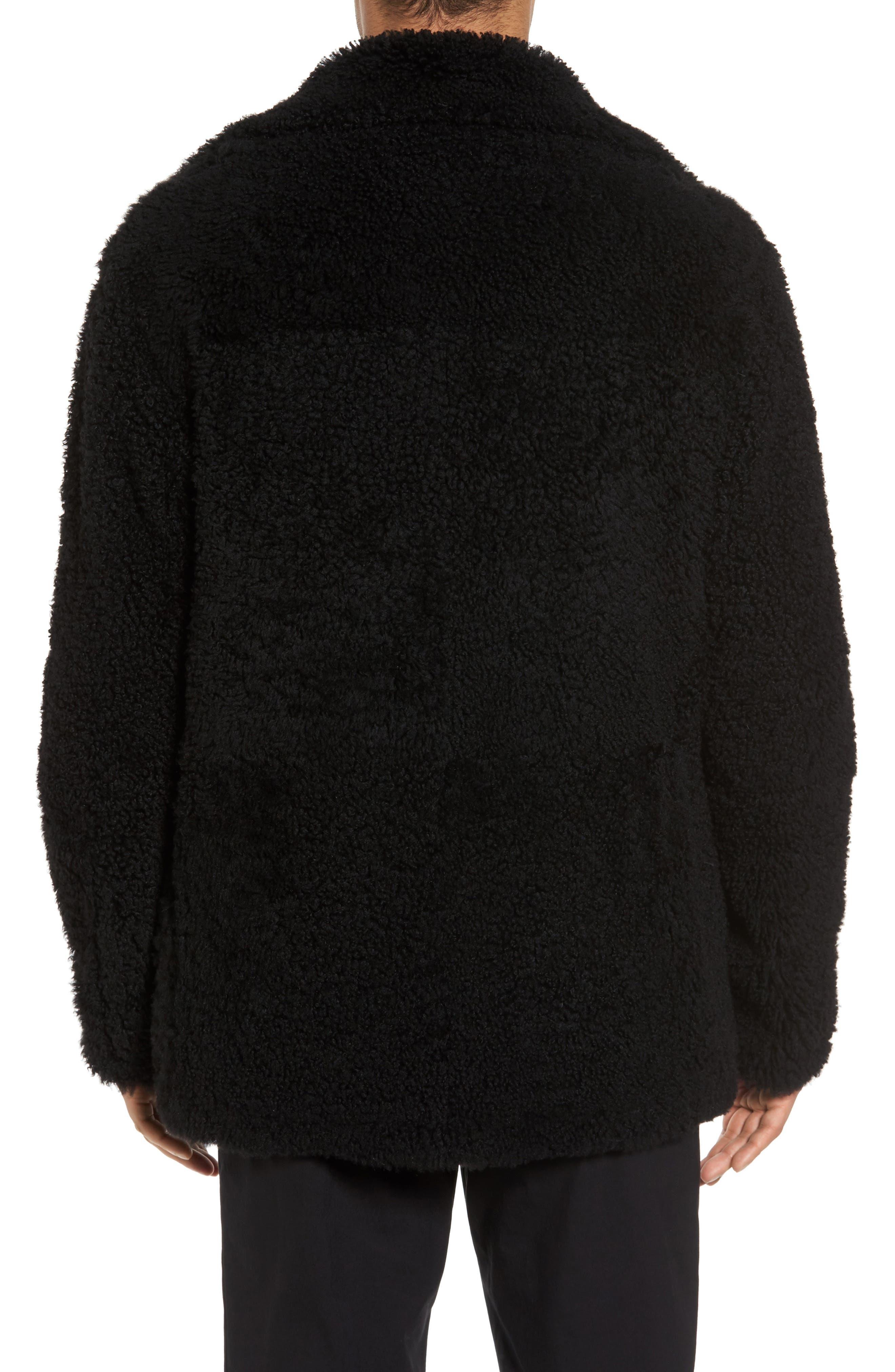 Reversible Genuine Shearling Peacoat,                             Alternate thumbnail 2, color,                             001