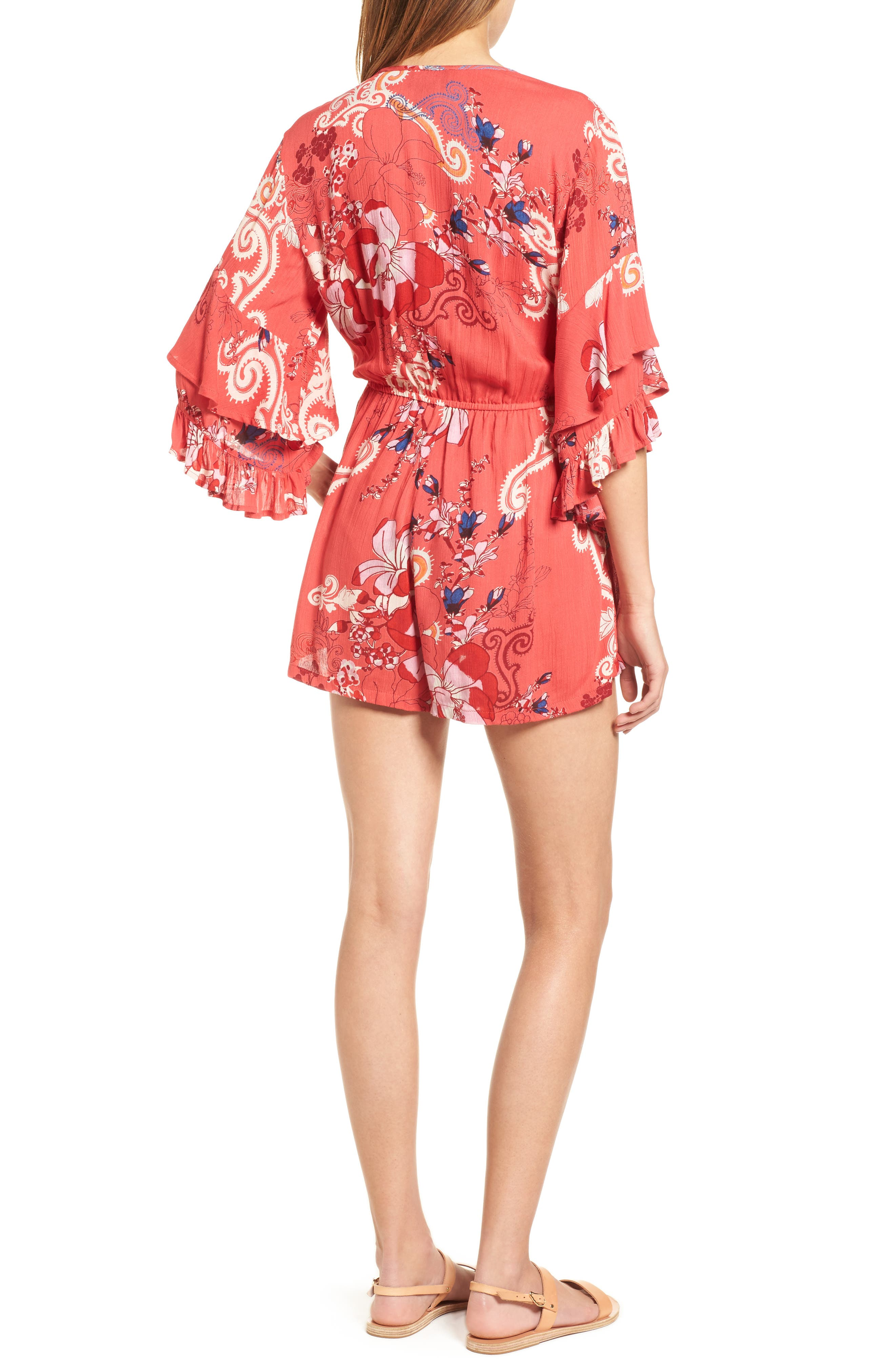 Print Ruffle Surplice Romper,                             Alternate thumbnail 4, color,