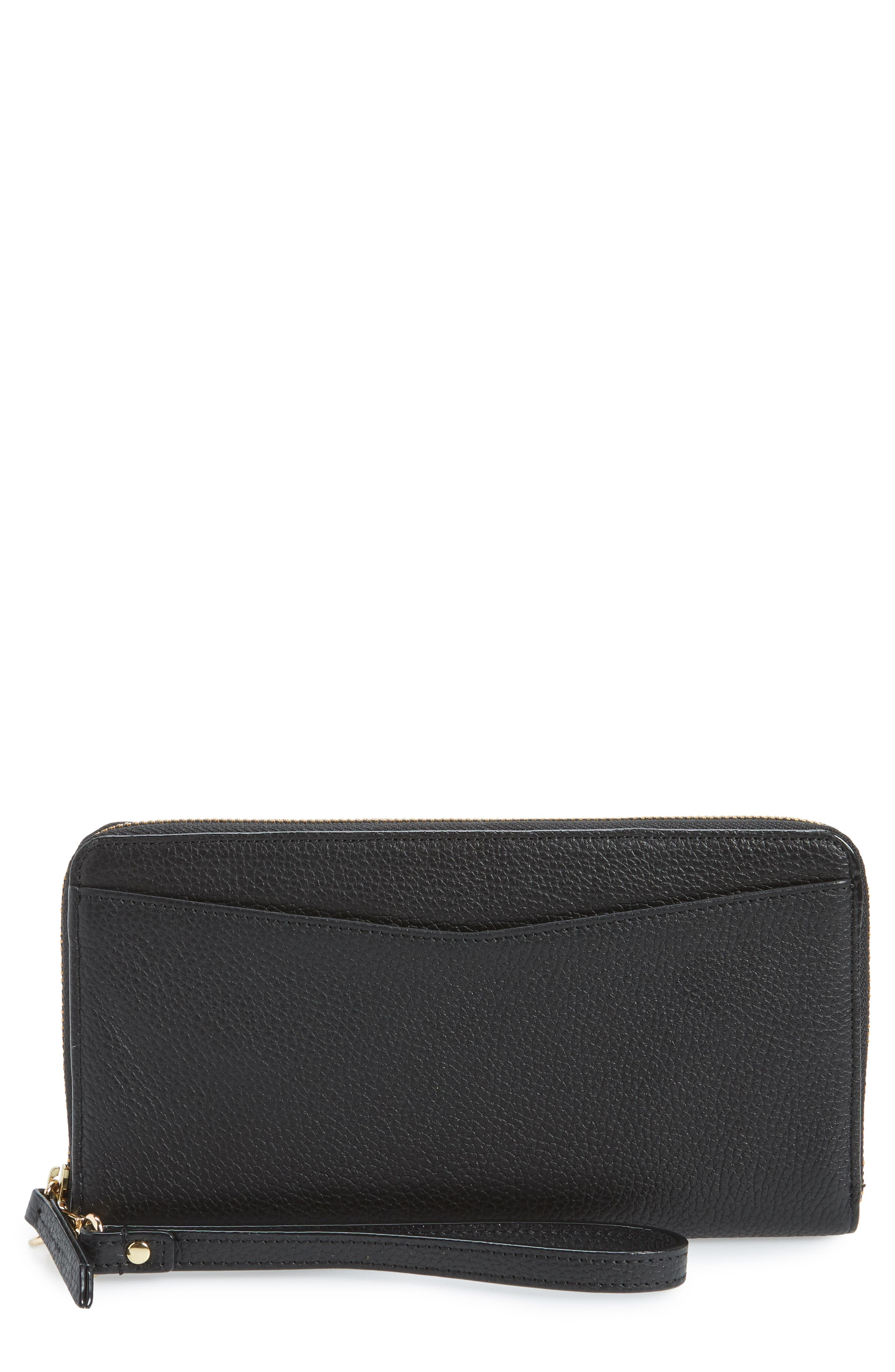 Zip Around Leather Continental Wallet,                             Main thumbnail 1, color,                             BLACK