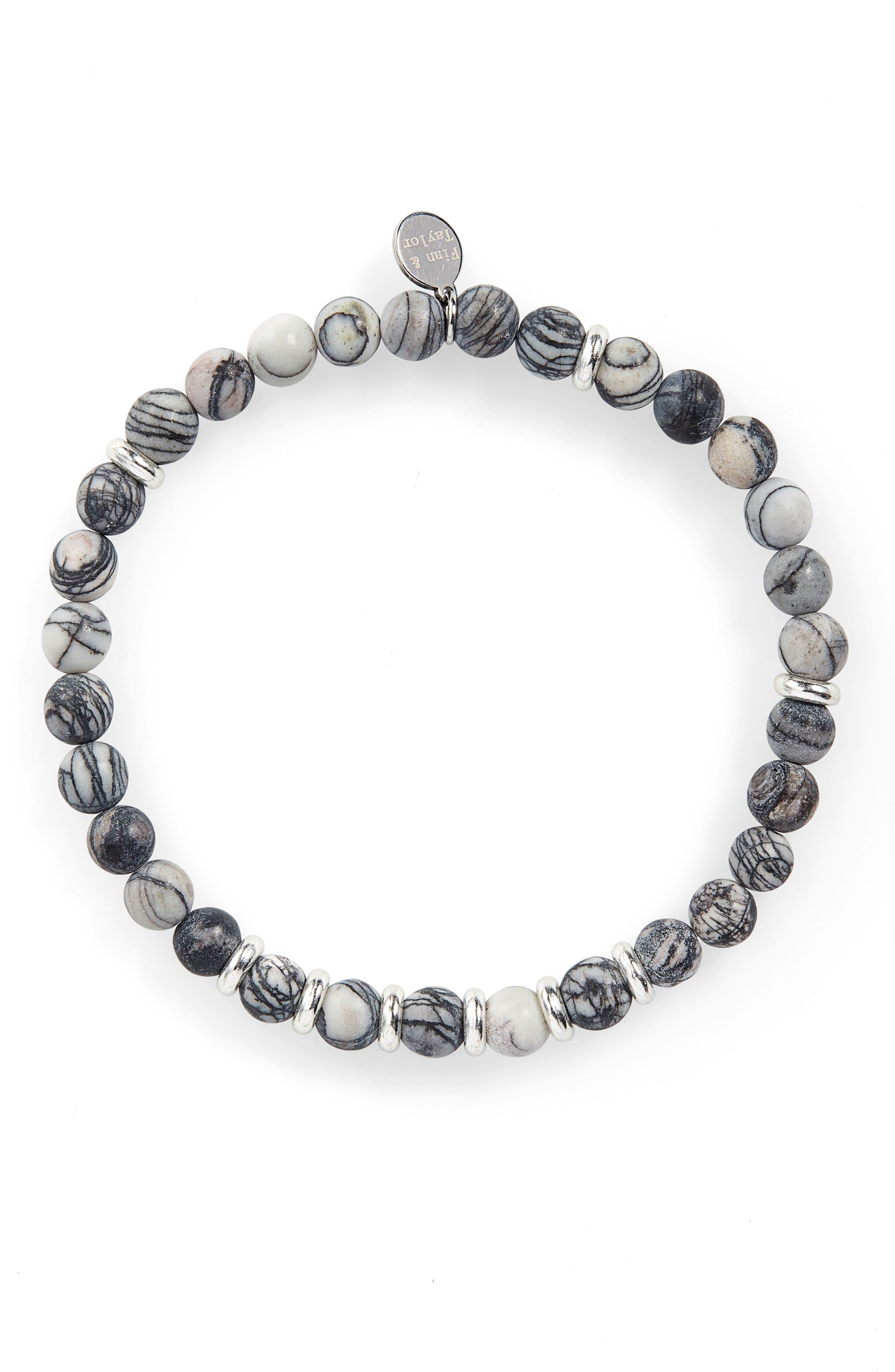 Zebra Agate Bead Bracelet,                             Main thumbnail 1, color,                             050