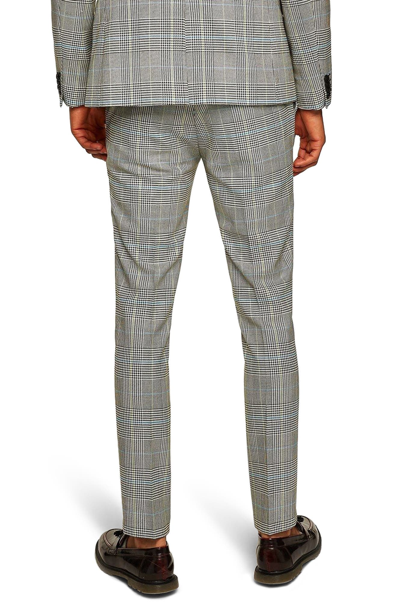 Skinny Fit Houndstooth Suit Trousers,                             Alternate thumbnail 2, color,                             GREY MULTI