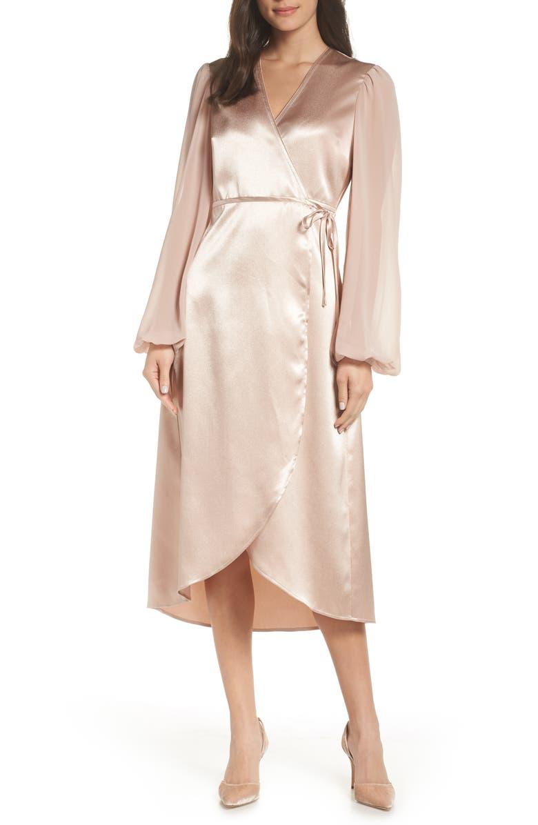 Avec Les Filles SATIN WRAP DRESS