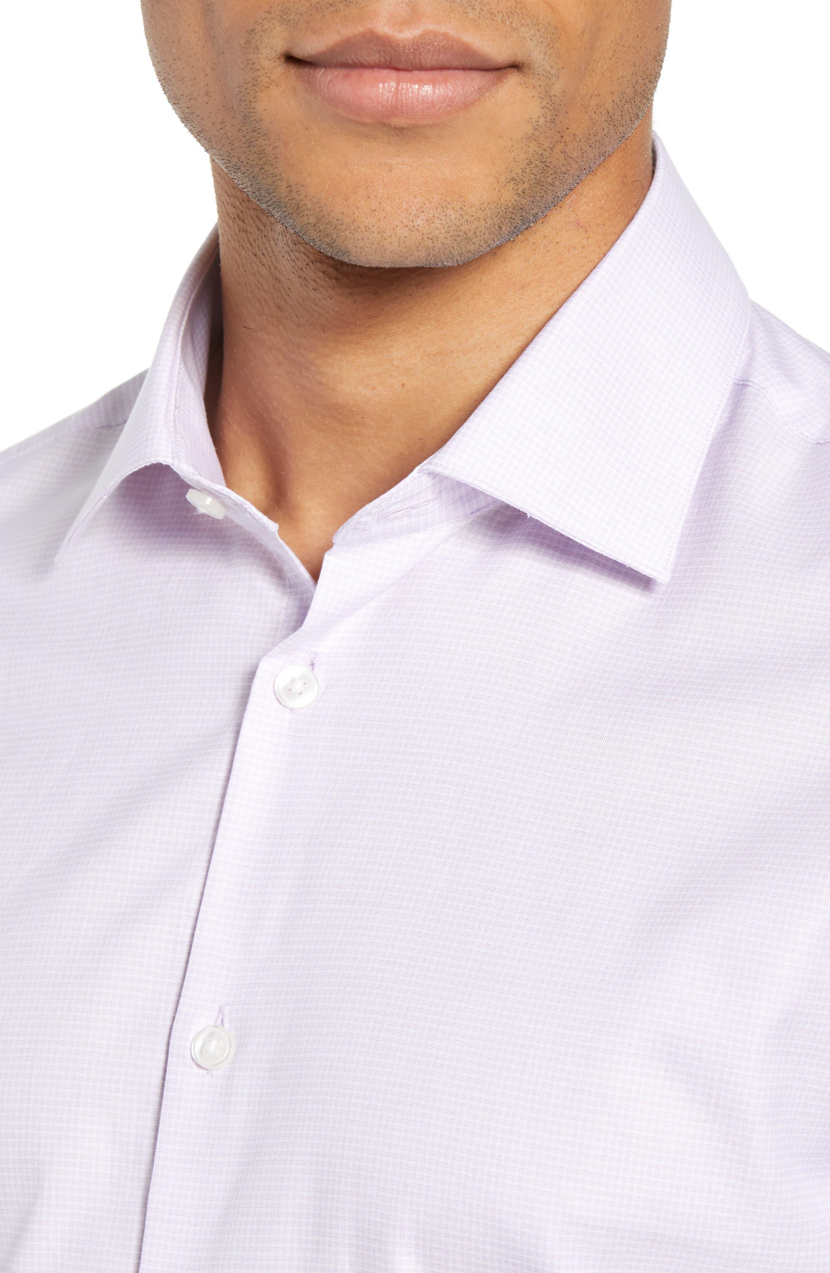 Slim Fit Check Dress Shirt,                             Alternate thumbnail 2, color,                             LAVENDER