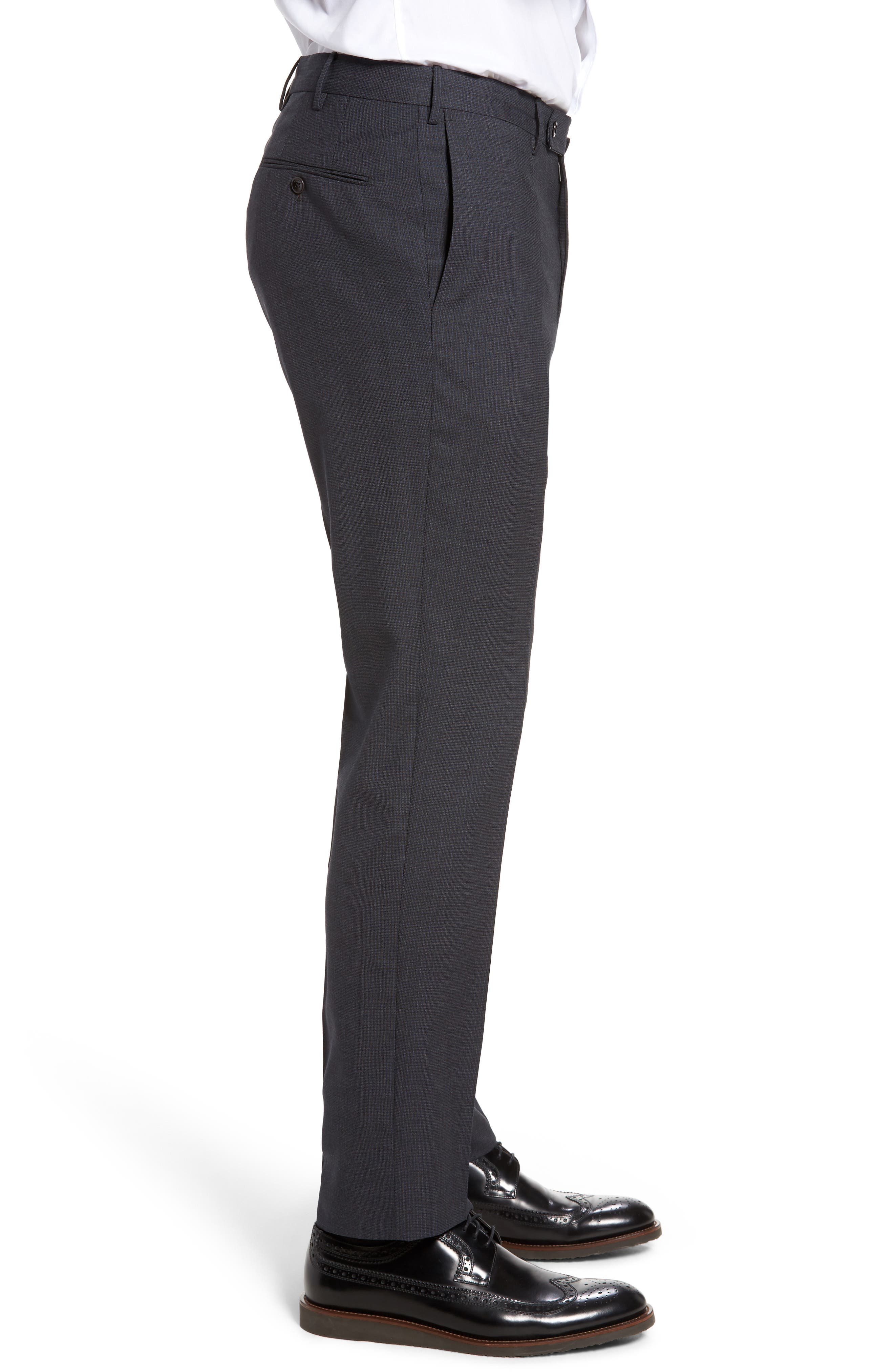 Benson Flat Front Wool Trousers,                             Alternate thumbnail 4, color,                             015