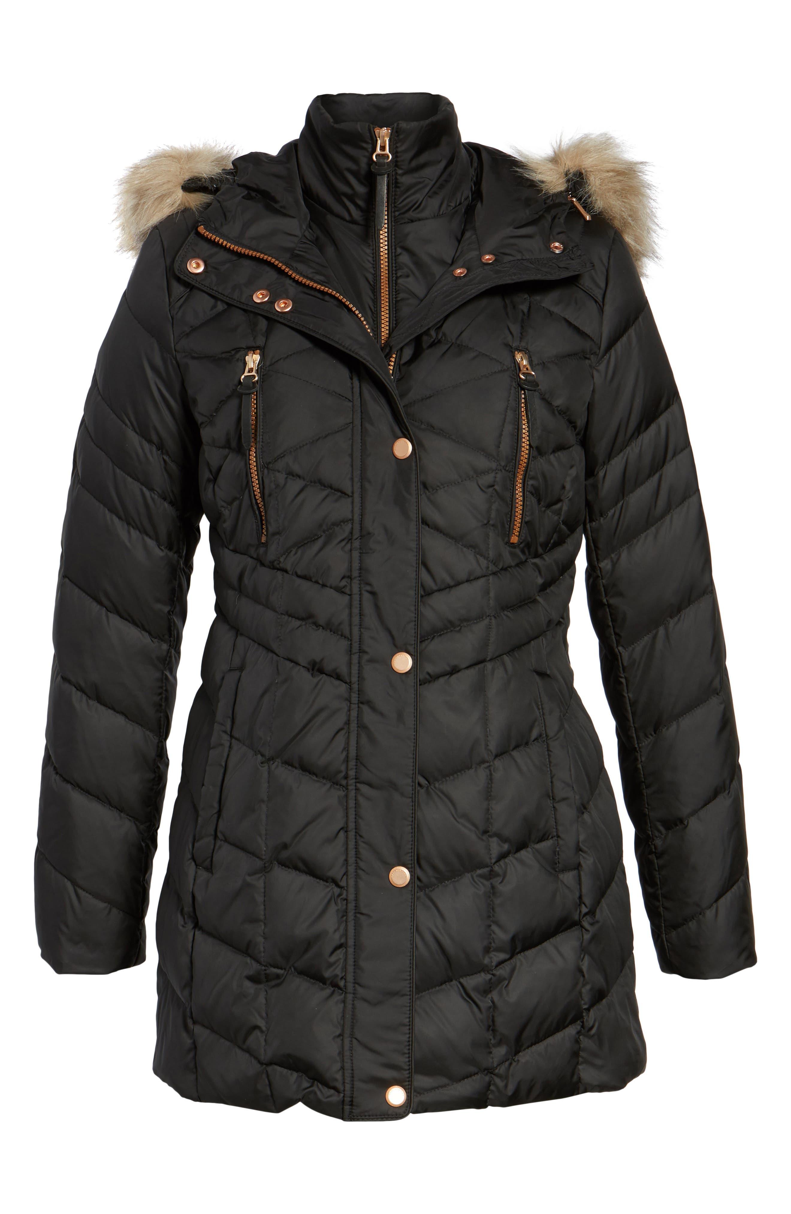 Marley 30 Coat with Detachable Faux Fur,                             Alternate thumbnail 5, color,                             001