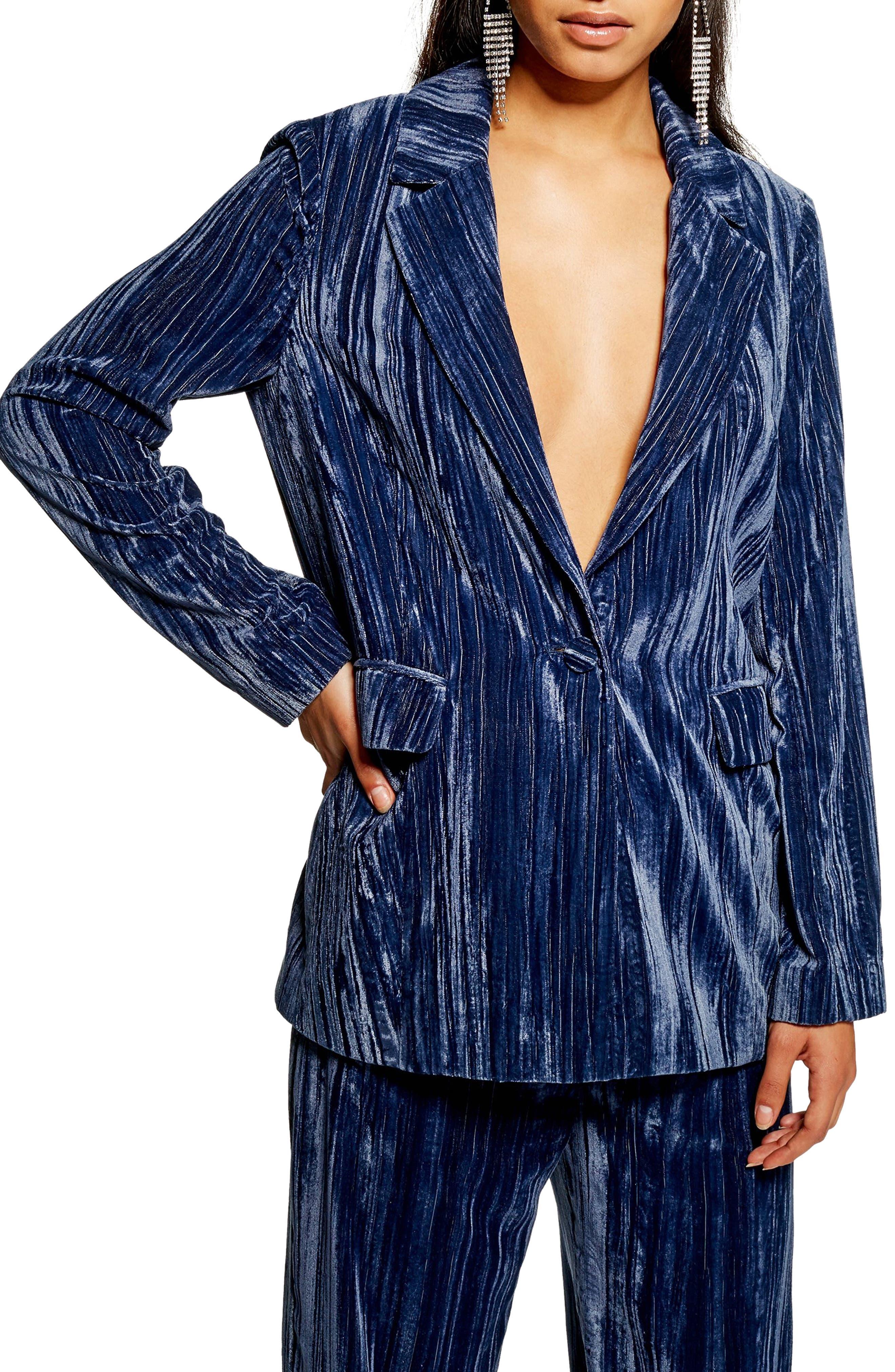 Crinkle Velvet Jacket,                         Main,                         color, BLUE