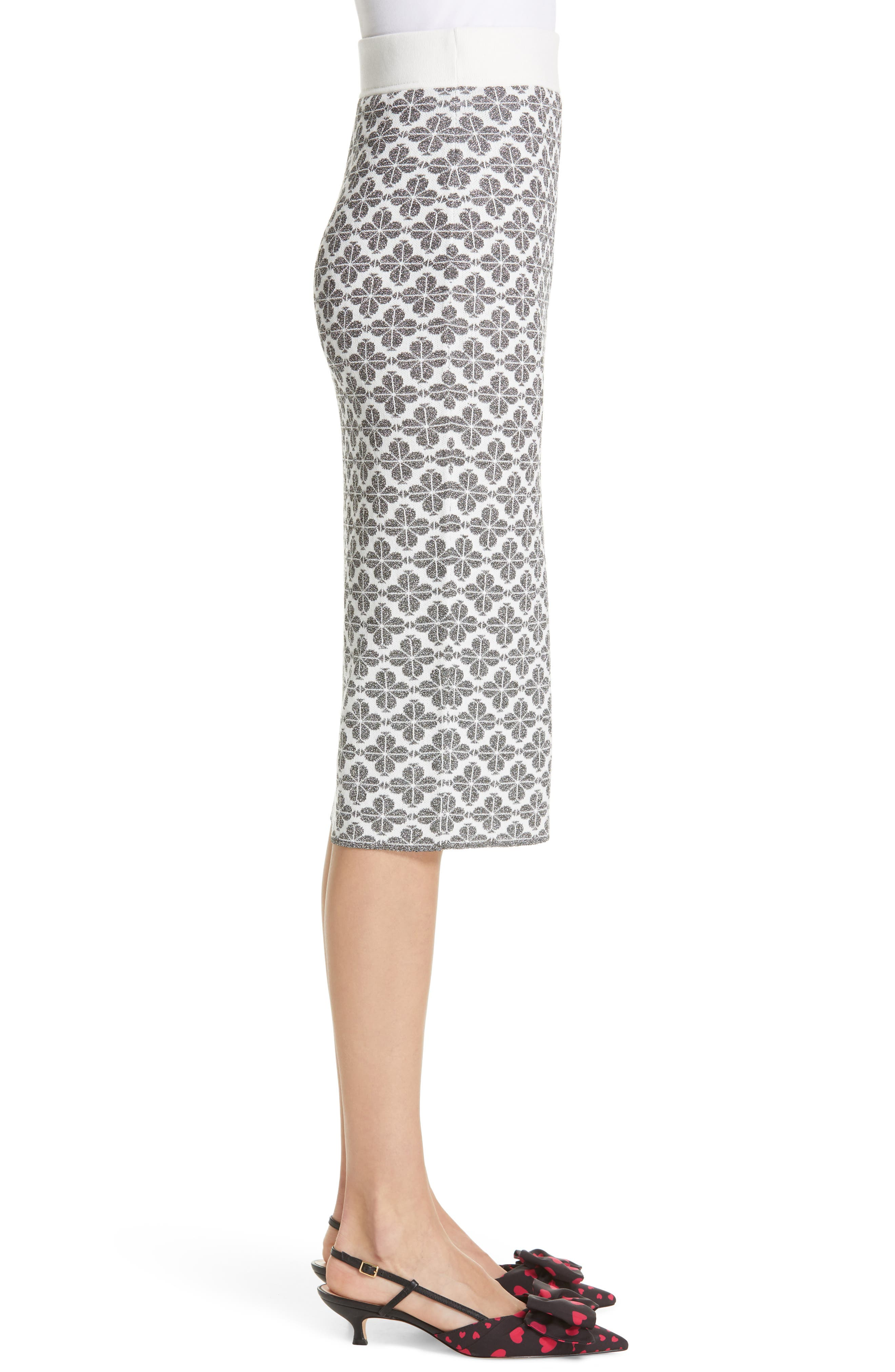 KATE SPADE NEW YORK,                             floral spade knit pencil skirt,                             Alternate thumbnail 3, color,                             BLACK