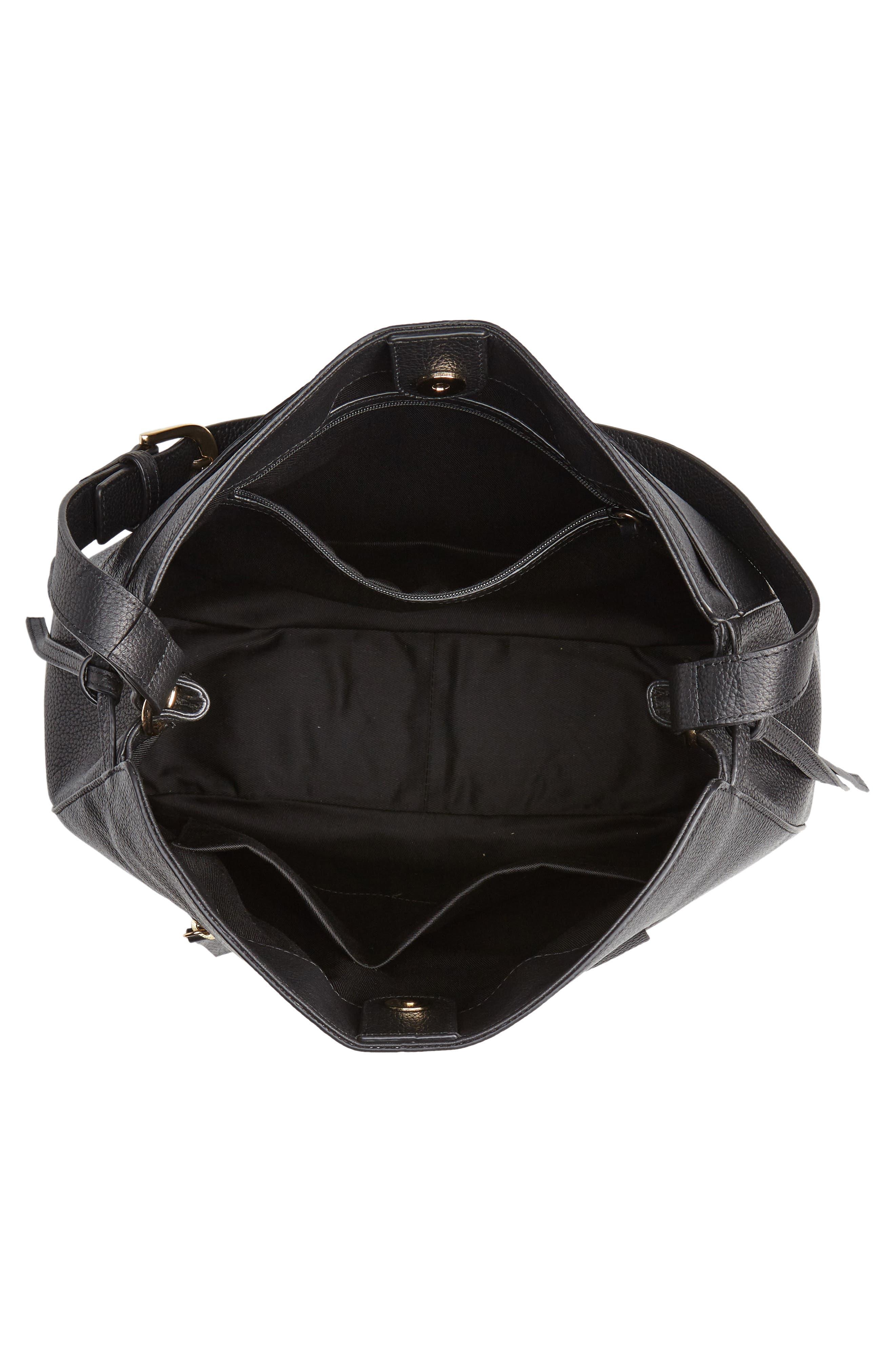 NORDSTROM,                             Finley Leather Hobo,                             Alternate thumbnail 4, color,                             BLACK