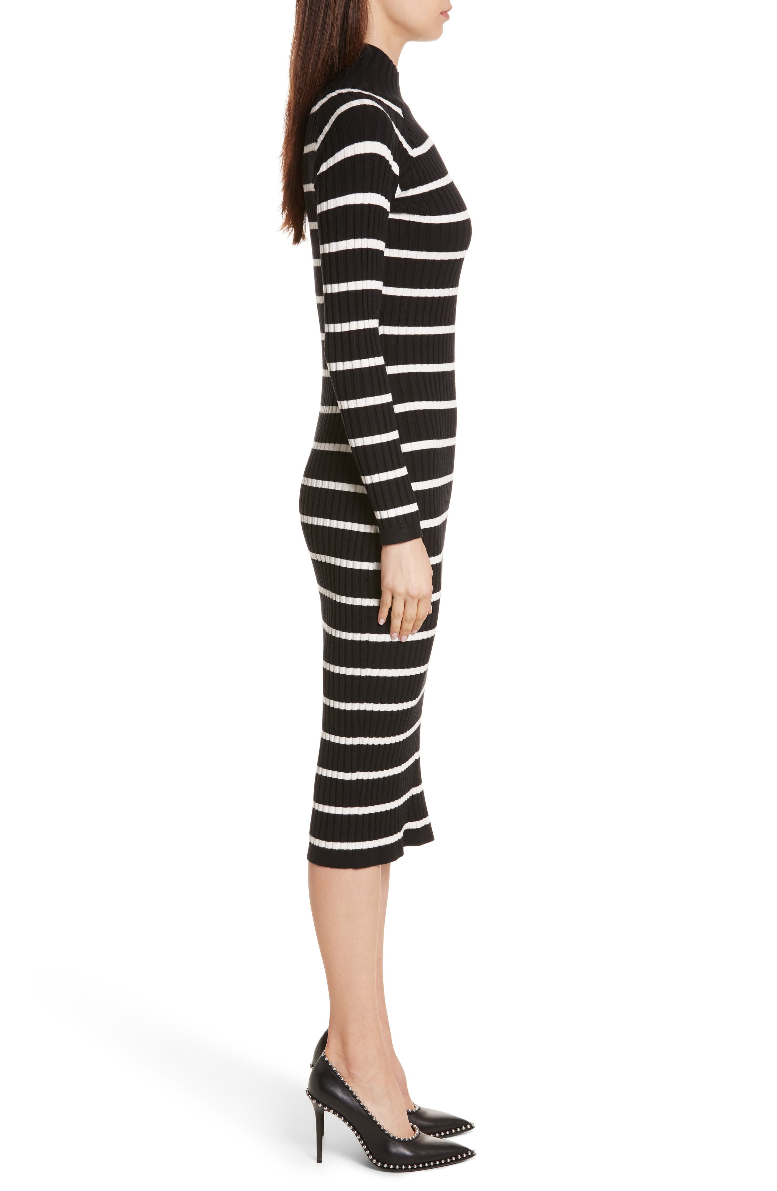 Stripe Knit Turtleneck Dress,                             Alternate thumbnail 3, color,                             004