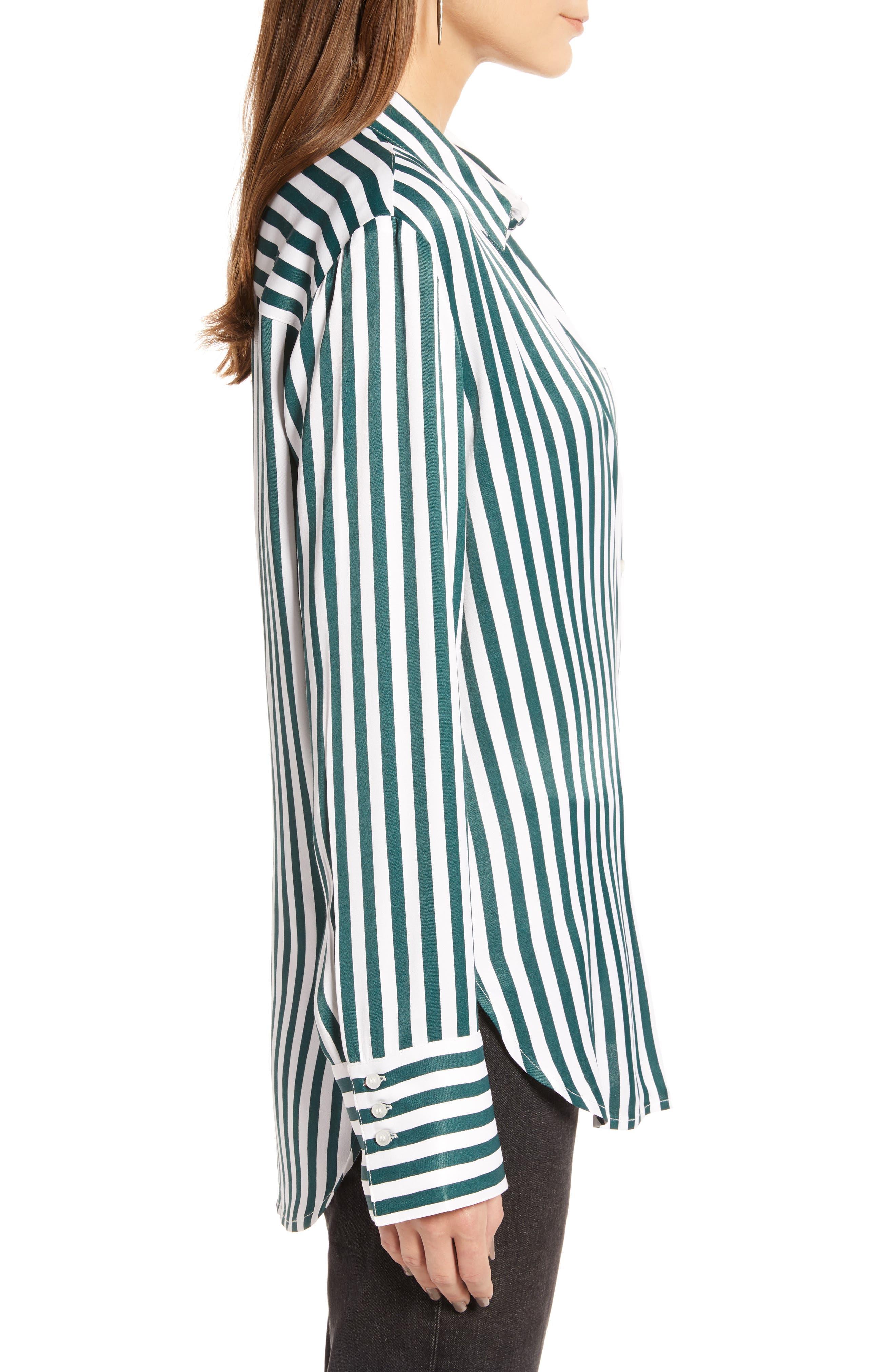 Striped Boyfriend Shirt,                             Alternate thumbnail 3, color,                             GREEN BUG WIDE STRIPE