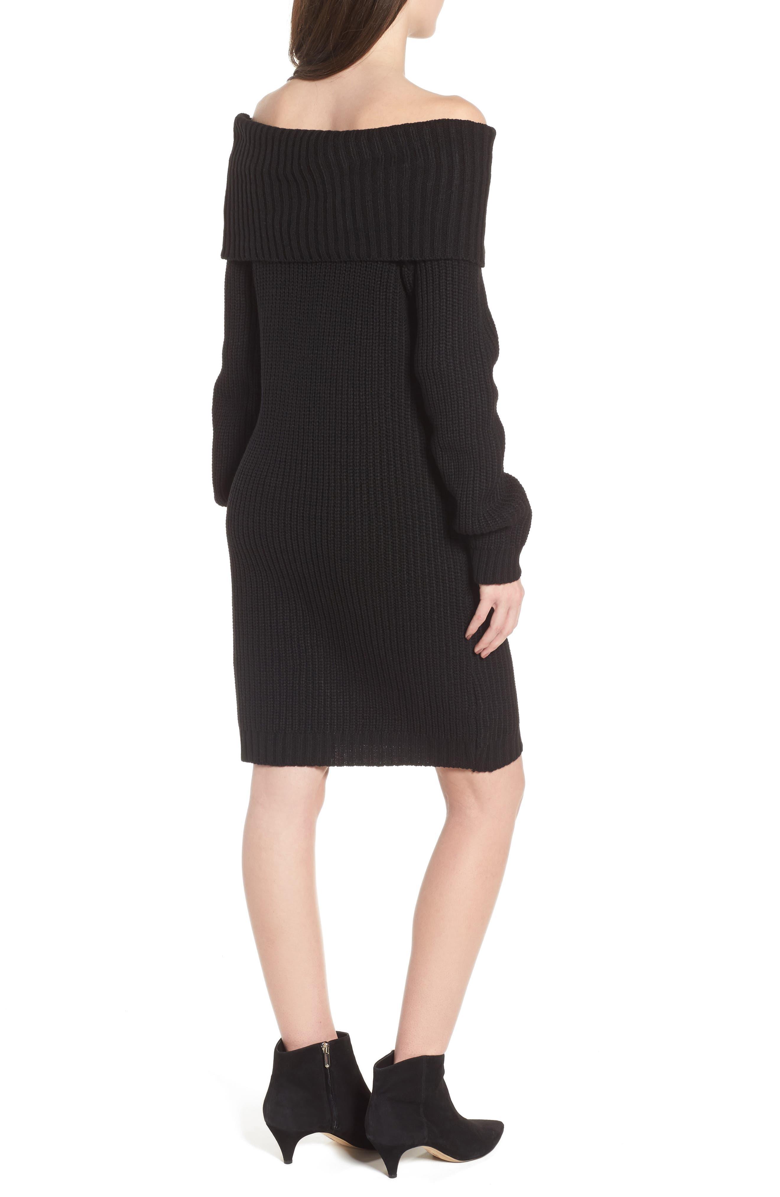 Foldover Off the Shoulder Sweater Dress,                             Alternate thumbnail 2, color,                             001