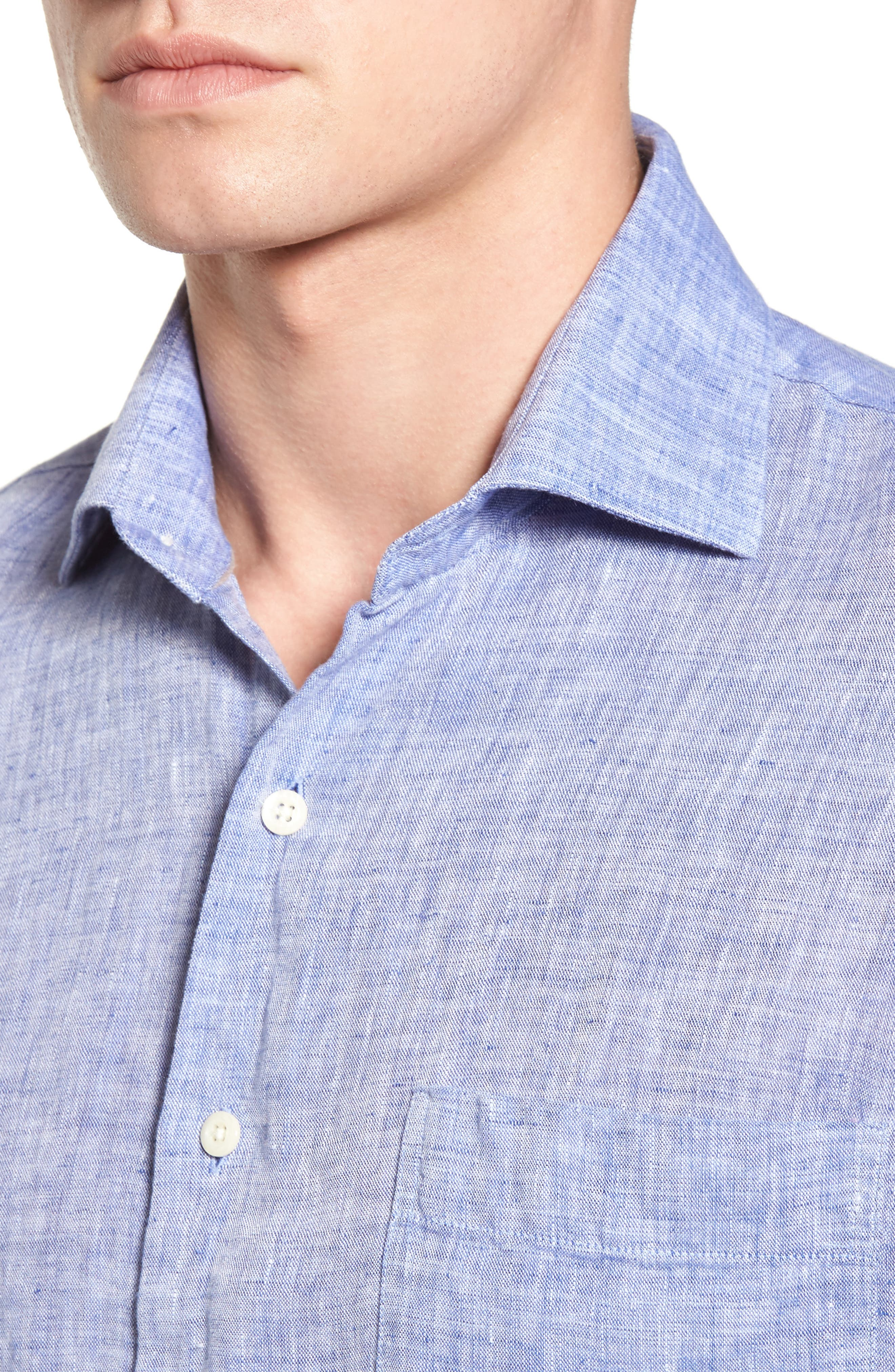 Classic Fit Crown Cool Linen Sport Shirt,                             Alternate thumbnail 4, color,                             YANKEE BLUE