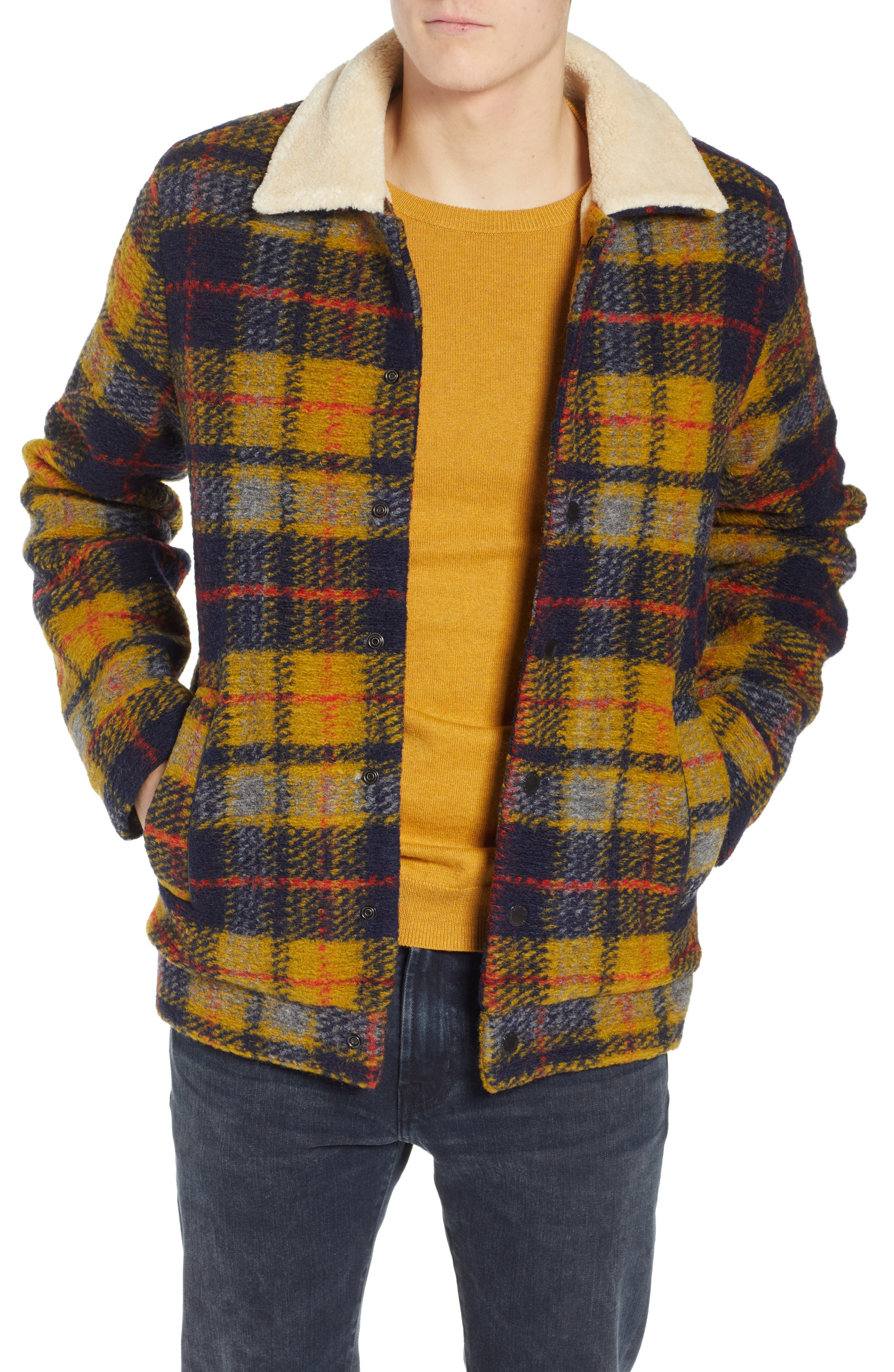 Plaid Faux Shearling Lined Wool Blend Trucker Jacket,                         Main,                         color, COMBO A