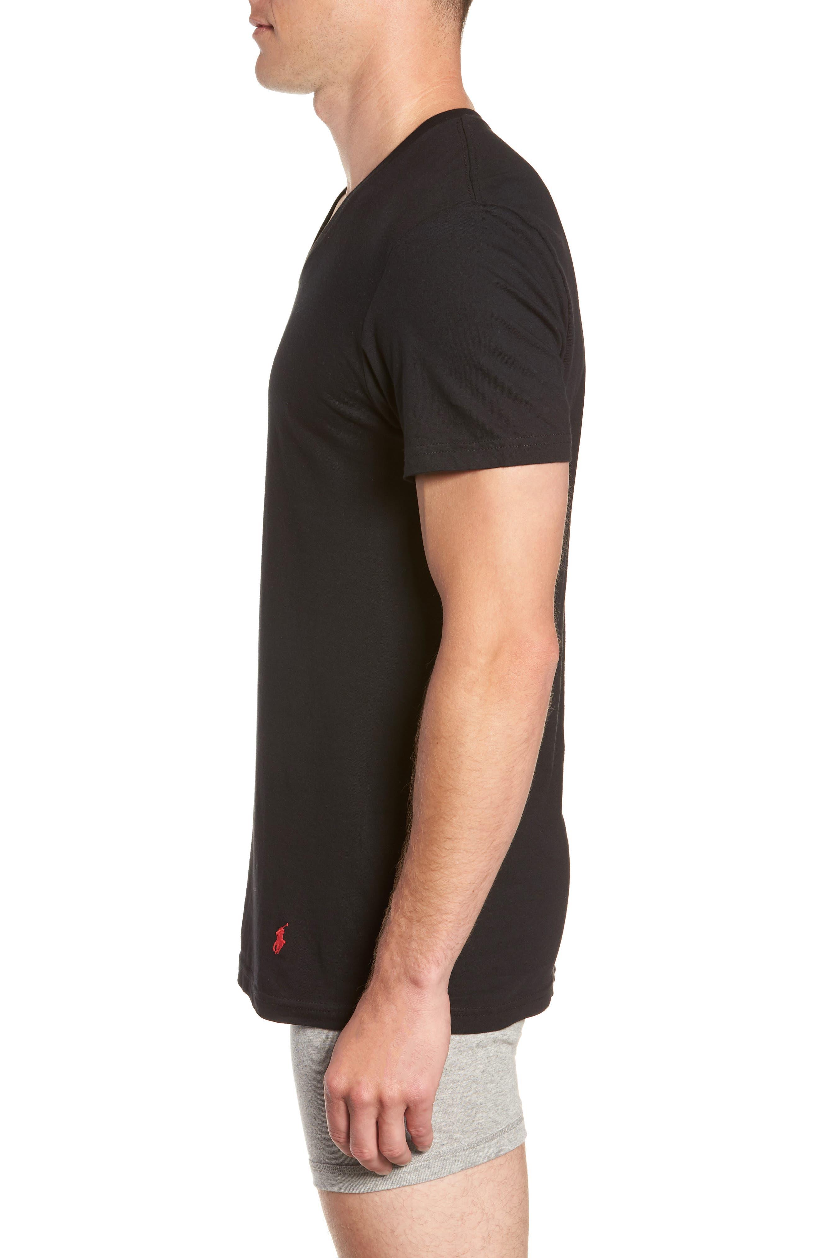 Polo Ralph Lauren 3-Pack V-Neck T-Shirts,                             Alternate thumbnail 4, color,                             POLO BLACK