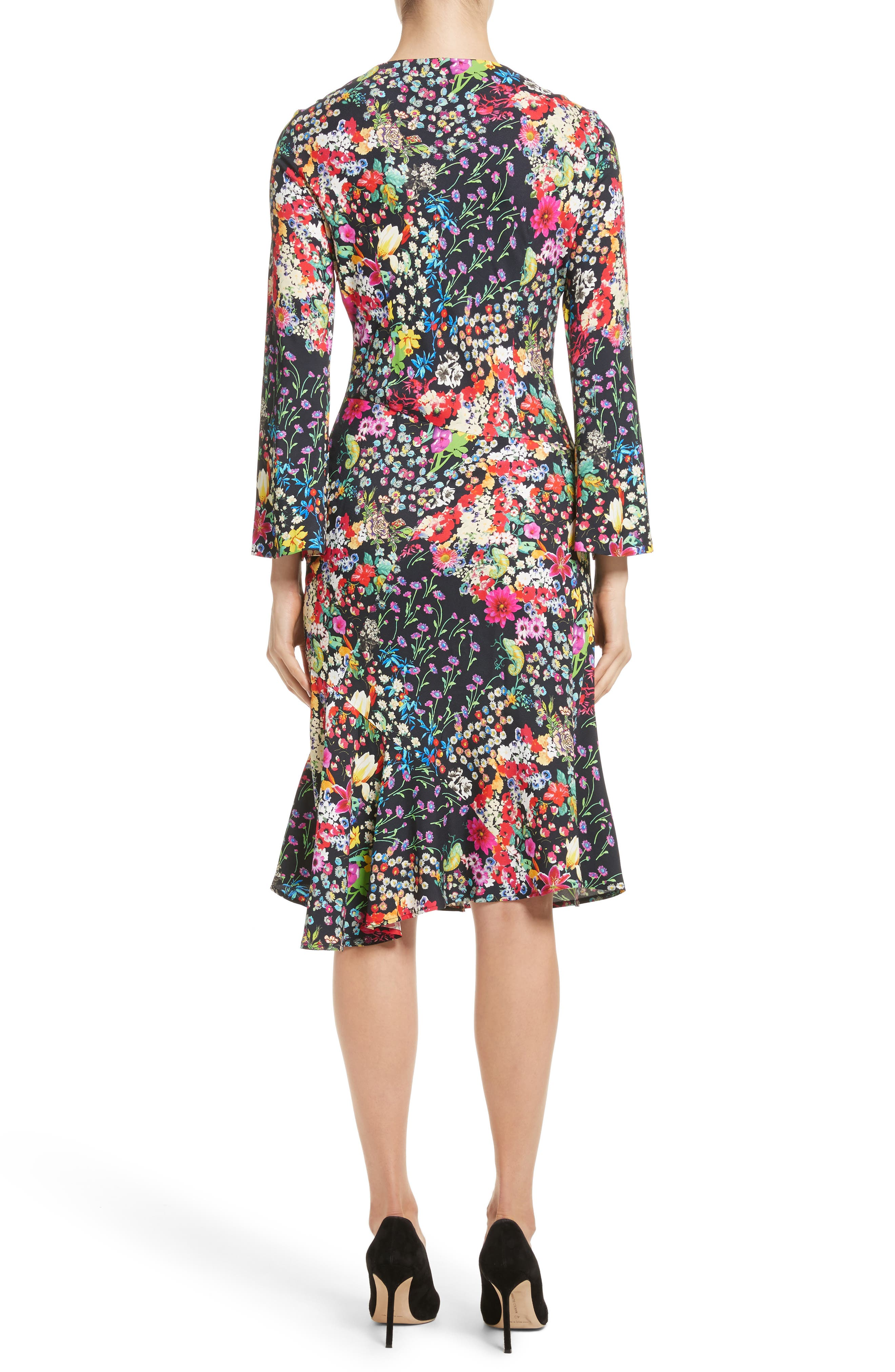 Micro Floral Print Dress,                             Alternate thumbnail 2, color,                             001
