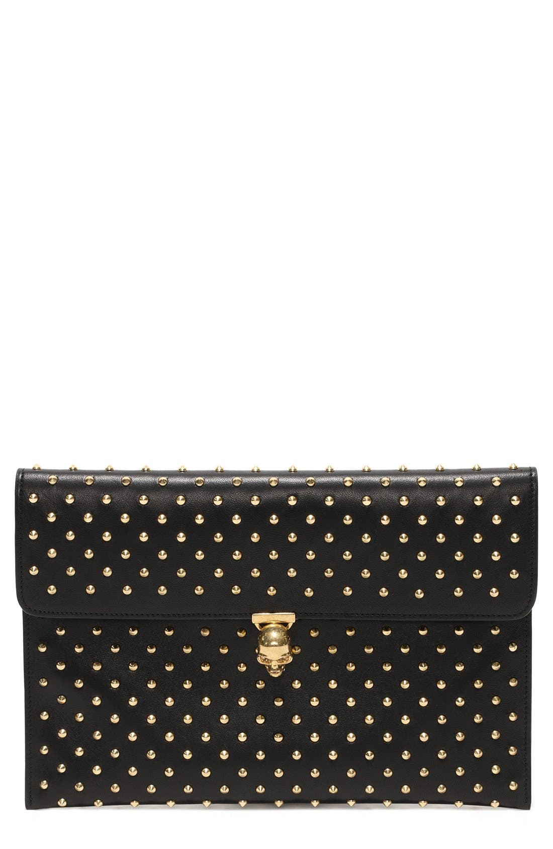 ALEXANDER MCQUEEN,                             'Skull' Envelope Clutch,                             Main thumbnail 1, color,                             001